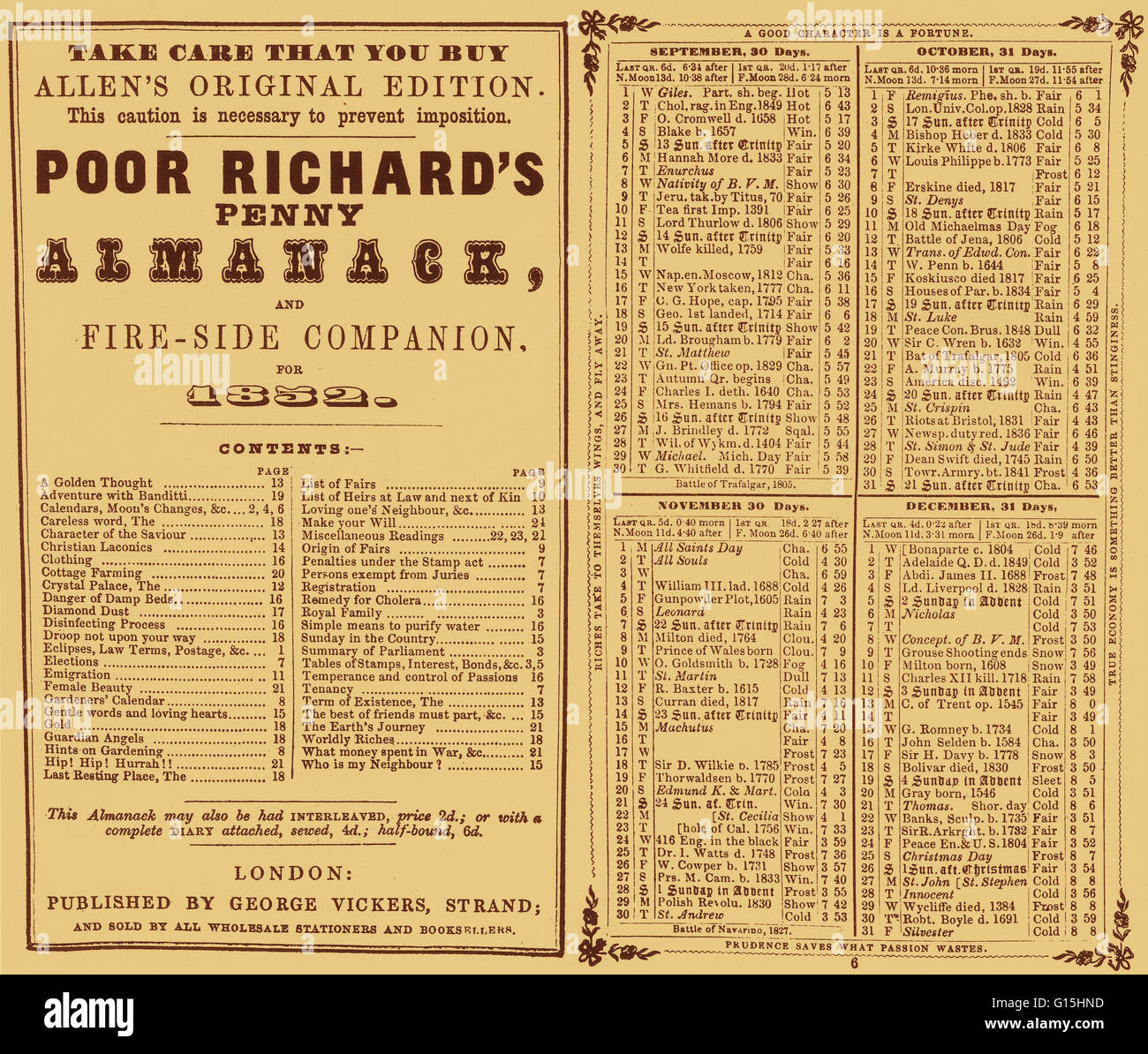 TItle page of 'Poor Richard's Penny Almanack and Fire-Side Companion for 1852.' - Stock Image