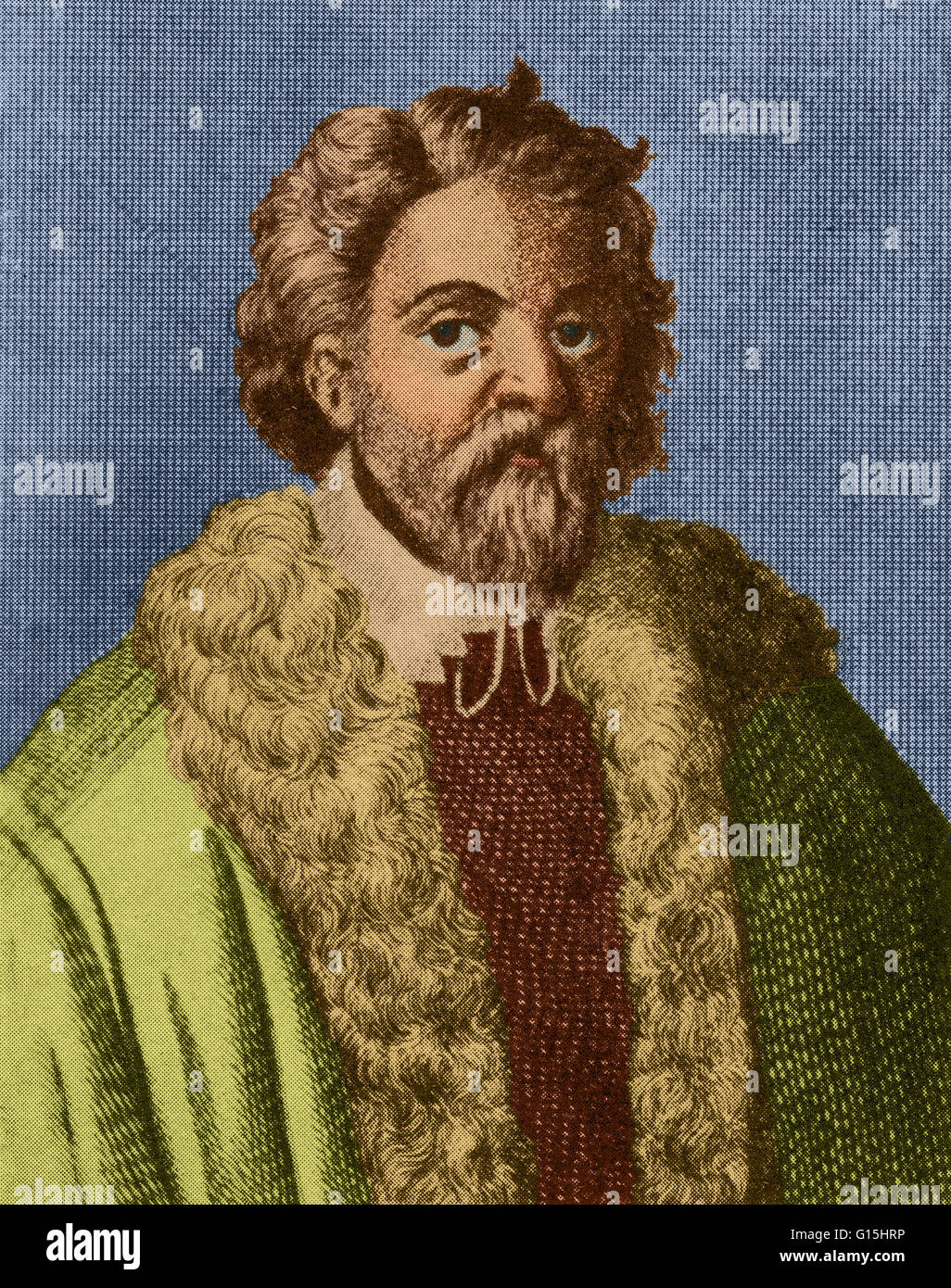 Color enhanced illustration of Cornelius Drebbel (1572 -1634), a Dutch inventor who is created for the first navigable - Stock Image