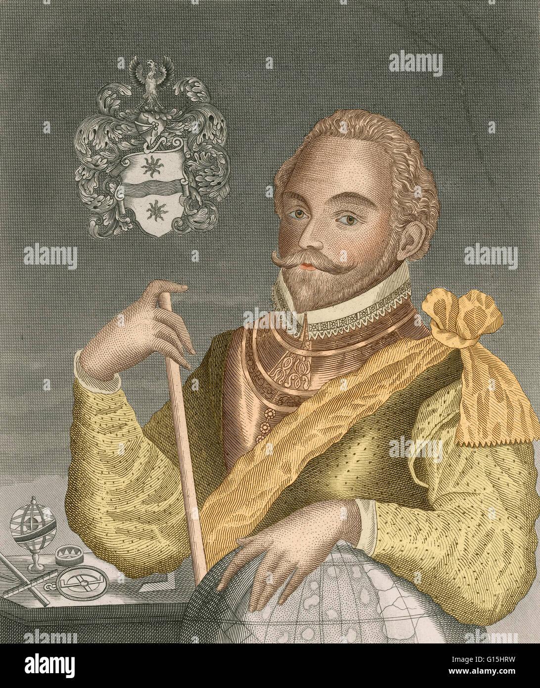 Sir Francis Drake, Vice Admiral (1540-1596) was an English sea captain, privateer, navigator, slaver, explorer and - Stock Image