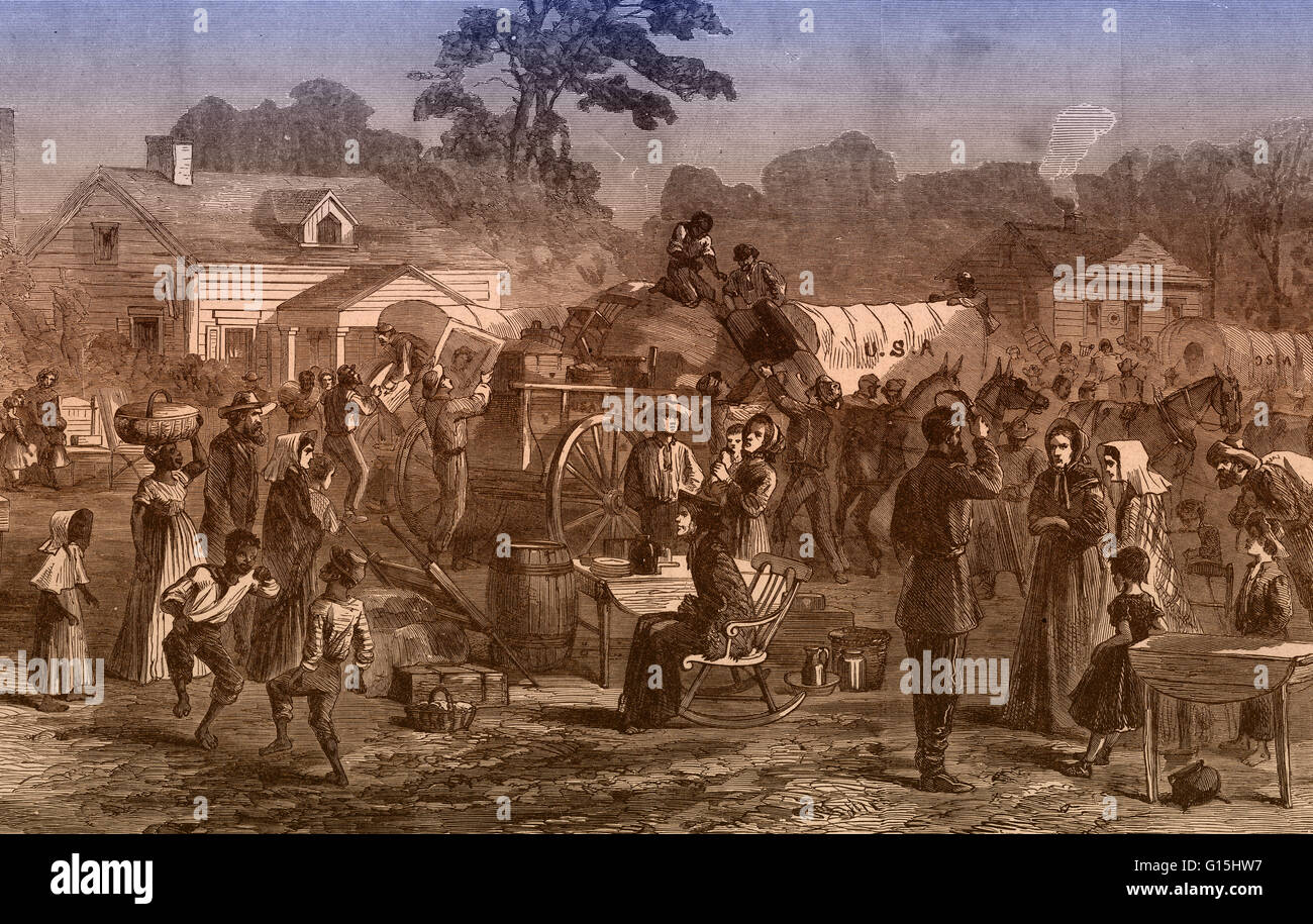 Color enhanced illustration of the exodus of Confederates from Atlanta. During the American Civil War, Atlanta became - Stock Image