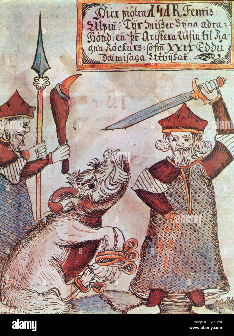 eed13604c Fenrir, the monstrous wolf of Norse mythology, bites the hand off of a  sword-wielding Tyr, the Norse god of war. Illustration from an 18th century  Icelandic ...