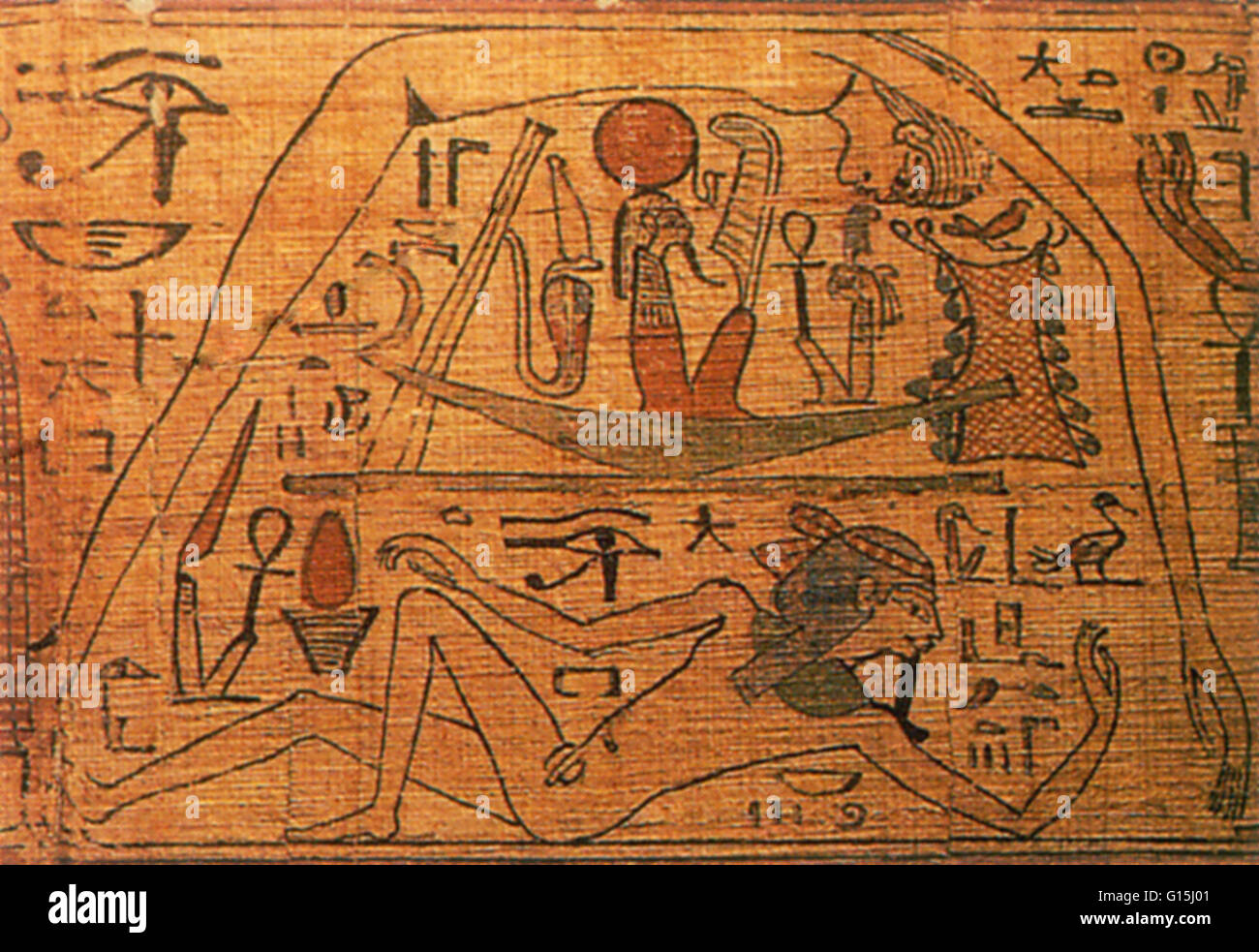 Ancient Egyptians believed that the Earth, personified by the god Geb, mated with his sister Nut, the sky, to create - Stock Image