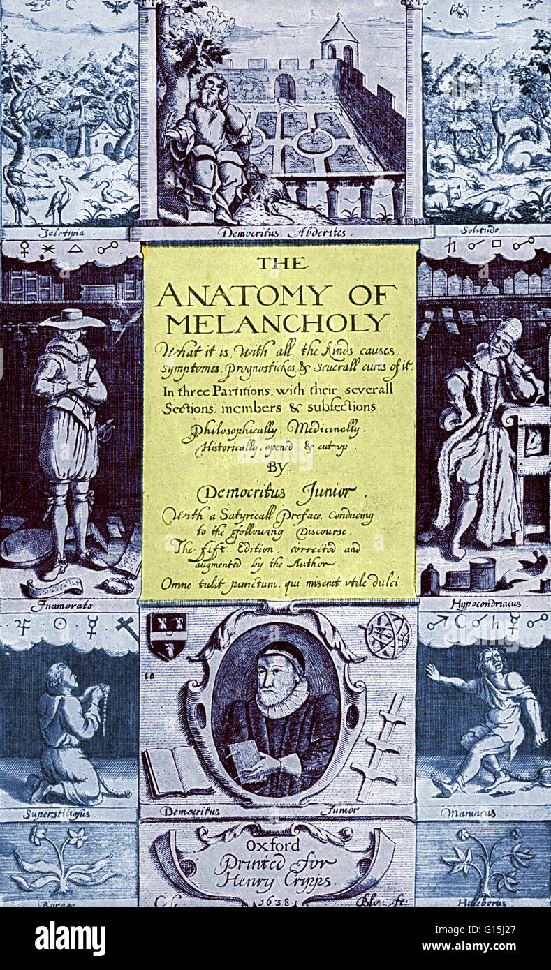 Frontispiece from the 1638 edition of The Anatomy of Melancholy by ...