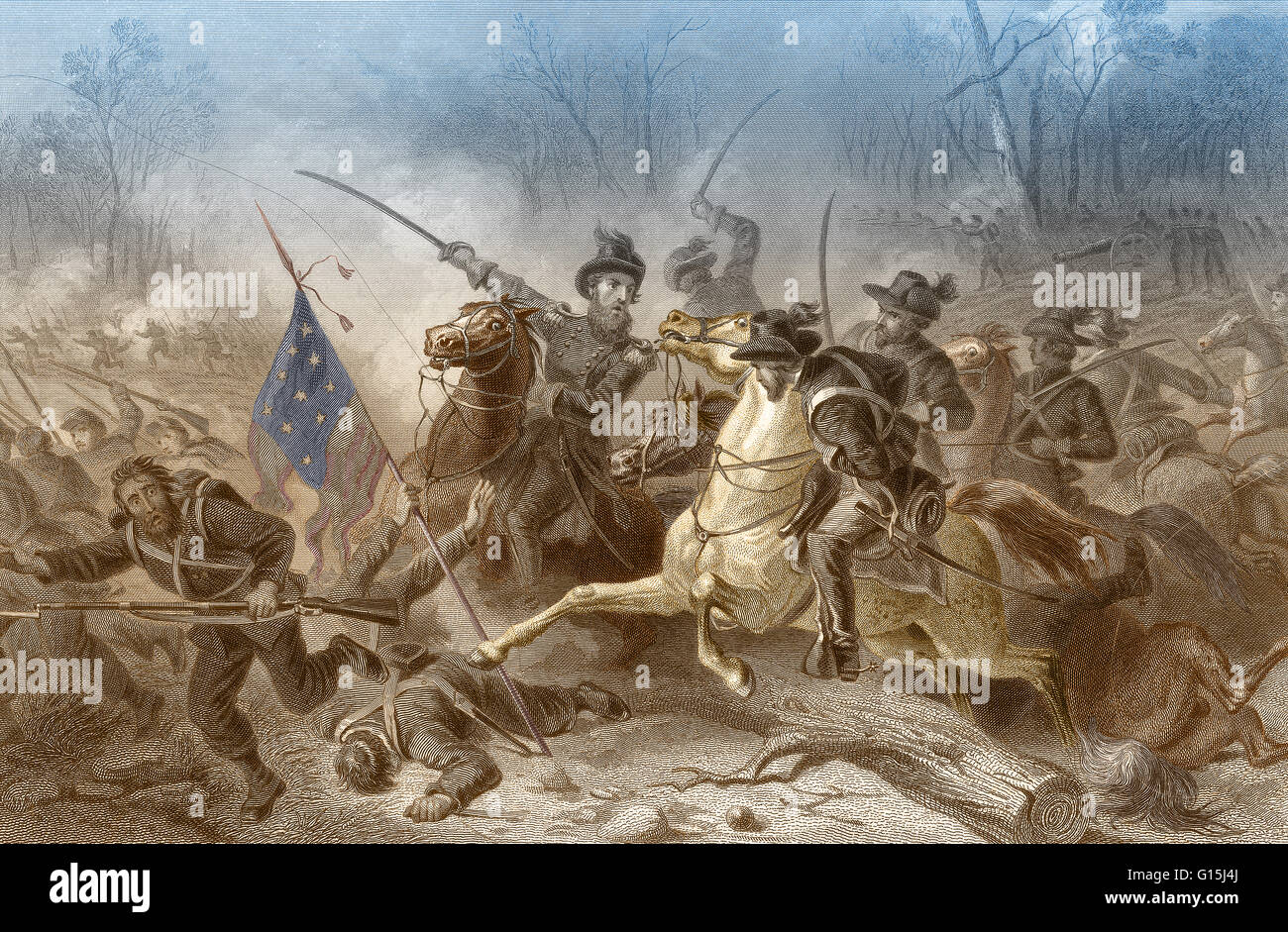 Color enhanced illustration of the Battle of Shiloh, also known as the Battle of Pittsburg Landing, a major battle - Stock Image