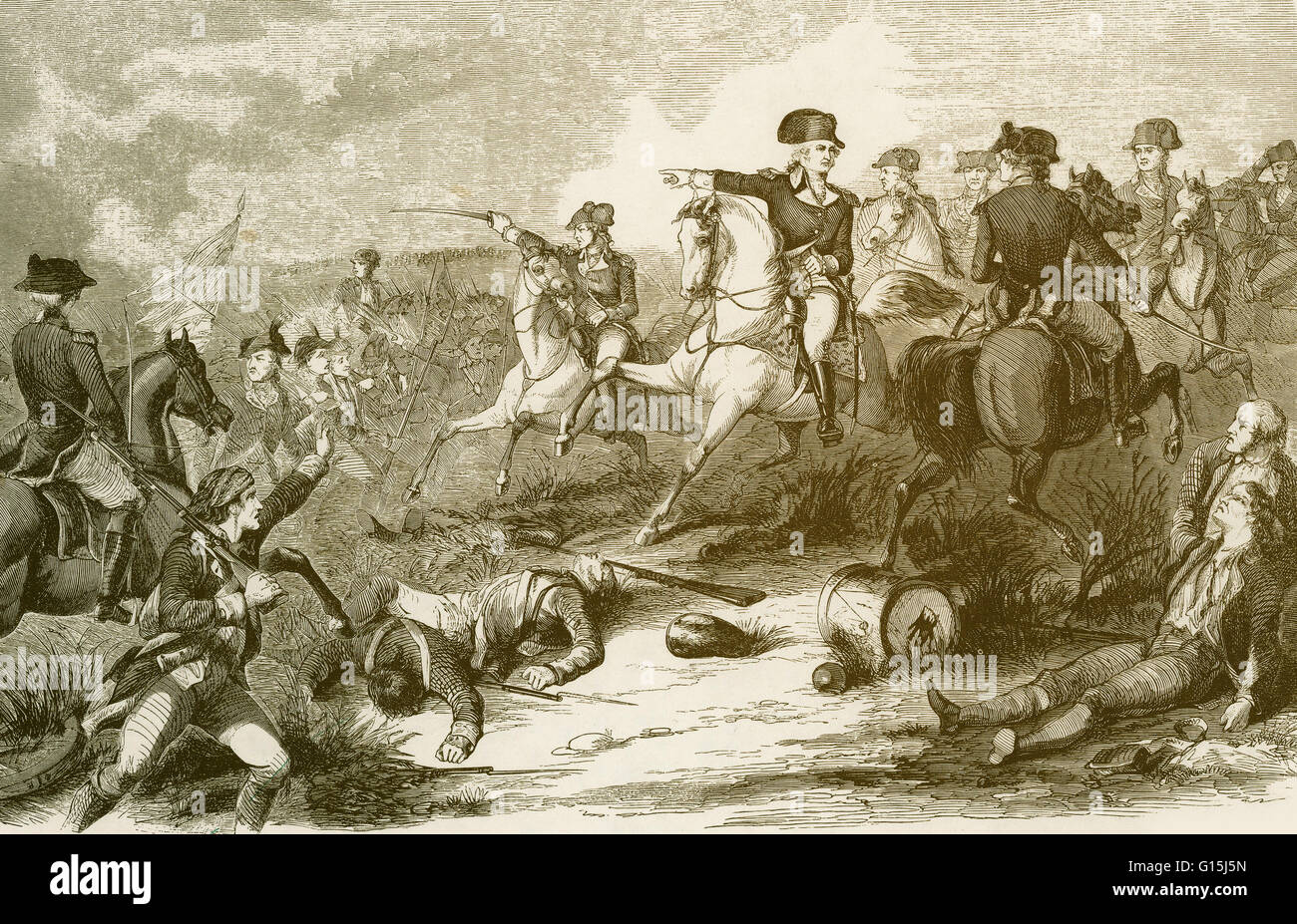 Enhanced 1858 illustration from 'Harper's Weekly' showing Washington taking over from Lee at Monmouth, - Stock Image