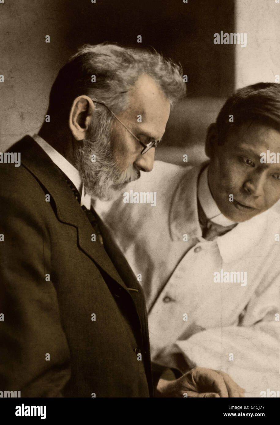 Portrait of Paul Ehrlich (1854-1915) and Sahachiro Hata (1873-1938), the bacteriologists from Germany and Japan - Stock Image