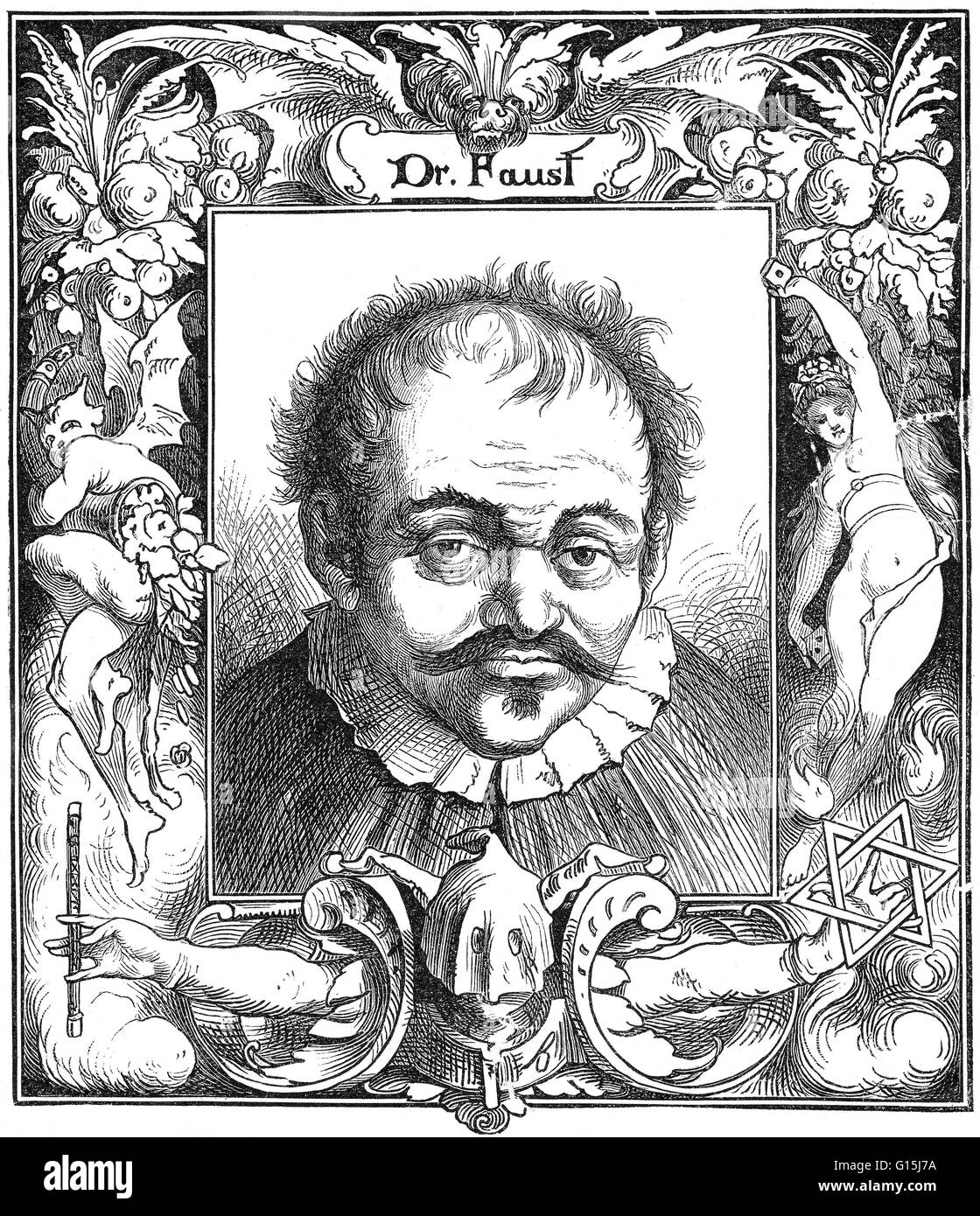 Doctor Johann Georg Faust (1480-1540), also known as John Faustus, was an itinerant alchemist, astrologer, and magician - Stock Image