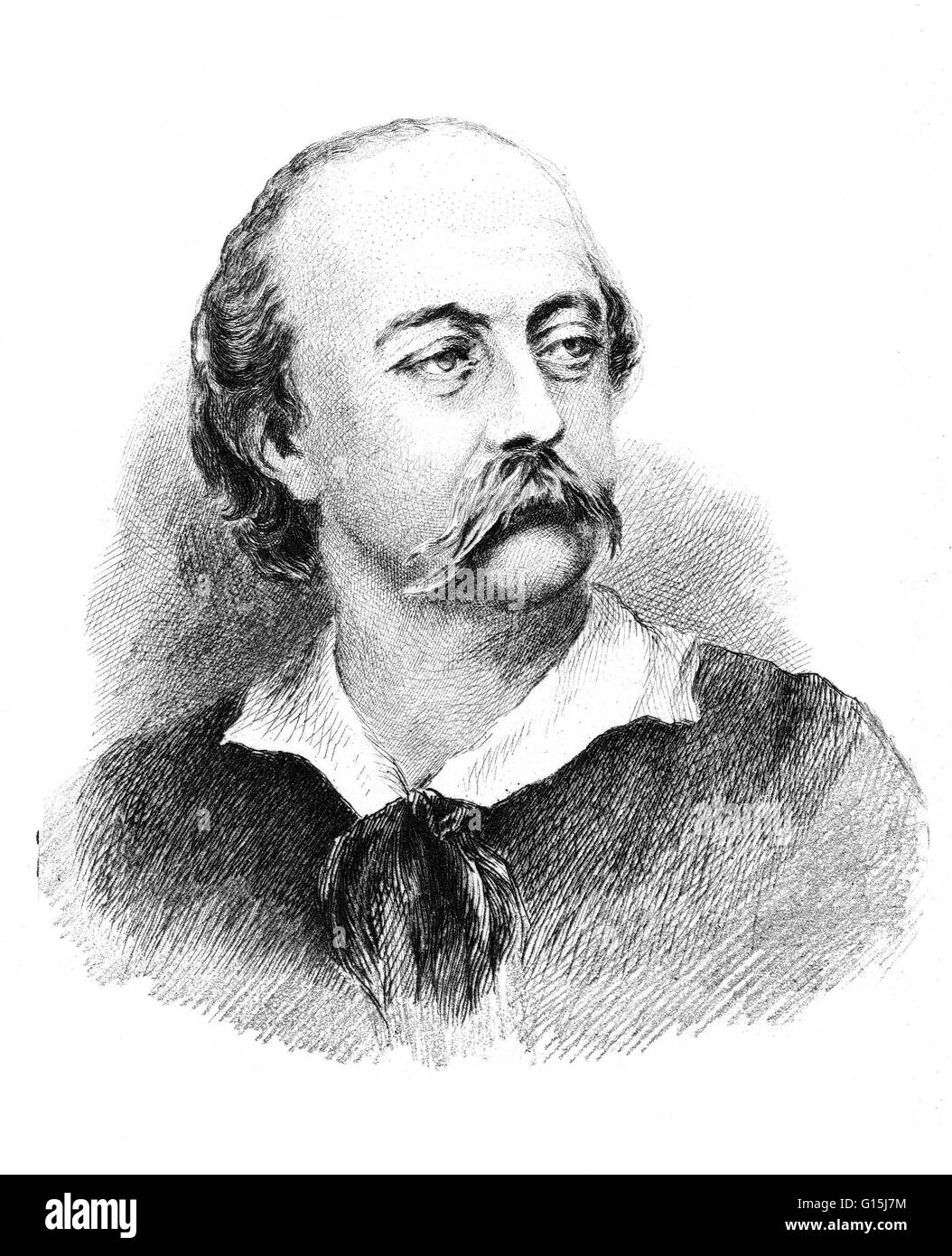Gustave Flaubert 1821--1880, French novelist and short story writer, regarded as a leader of the 19th century naturalist - Stock Image