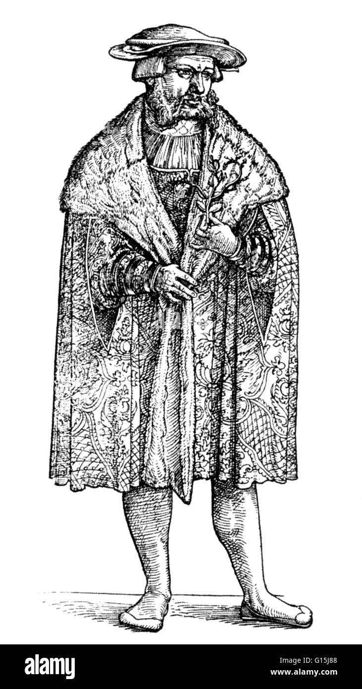 Leonhart Fuchs (1501-1566), sometimes spelled Leonhard Fuchs, was a German physician and one of the three founding - Stock Image