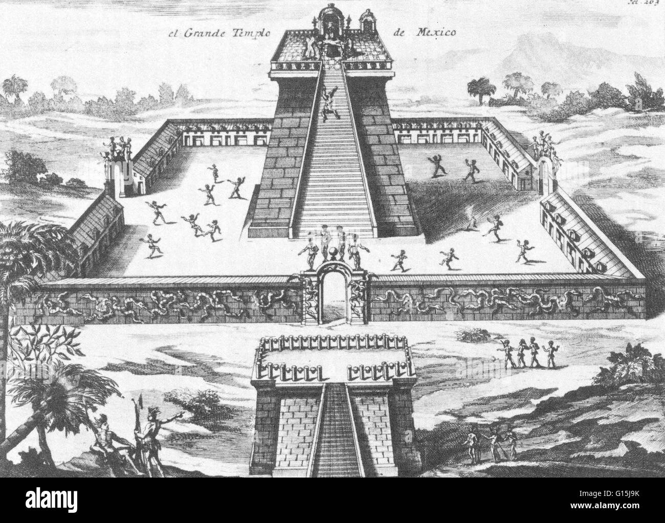 Aztec priests sacrificing prisoners to the god Huitzilopochtli at the great temple of Tenochtitlan. Wide stairs Stock Photo