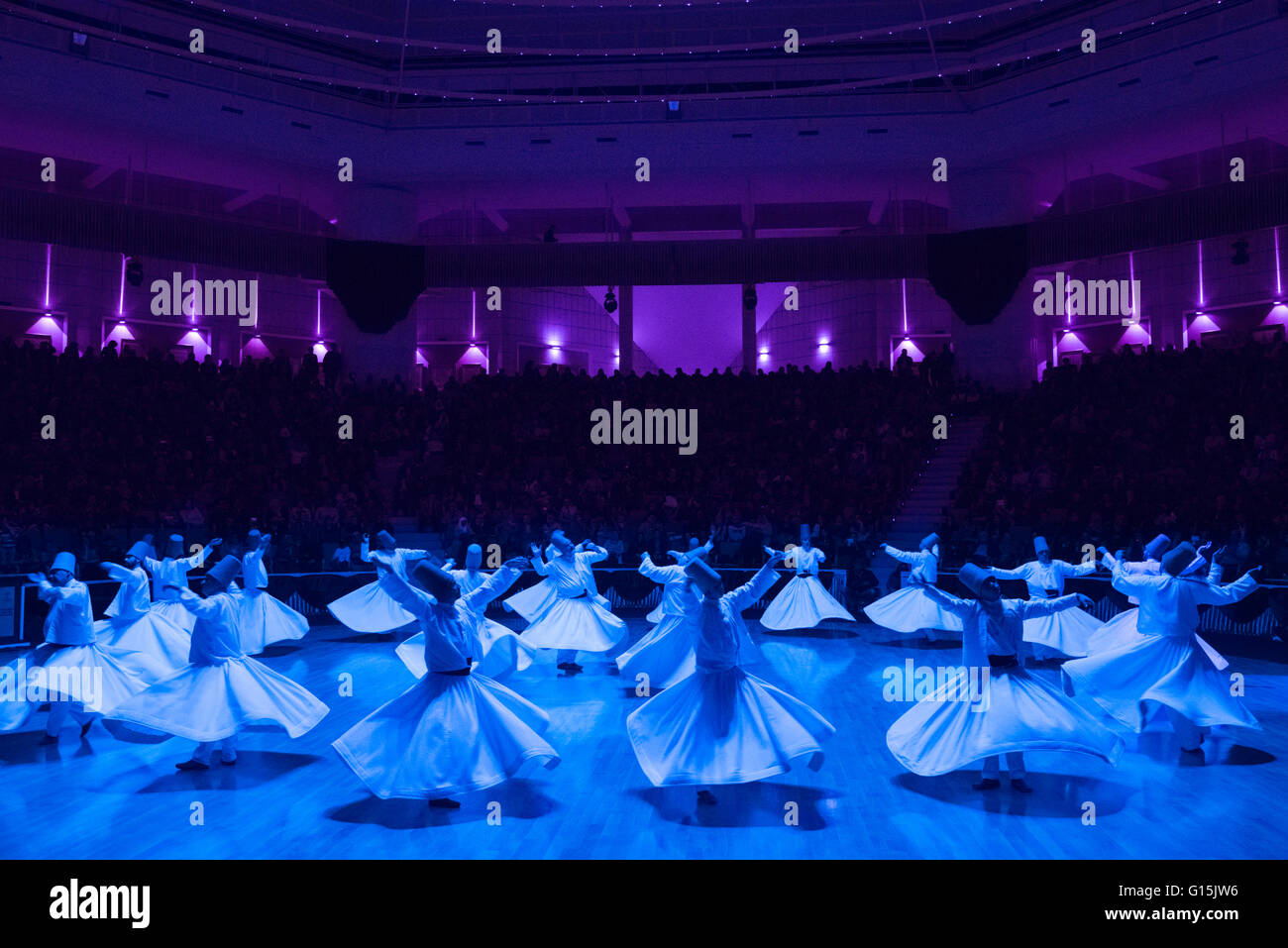 Whirling Dervishes at the Mevlana Culture Centre, Konya, Central Anatolia, Turkey, Asia Minor, Eurasia - Stock Image