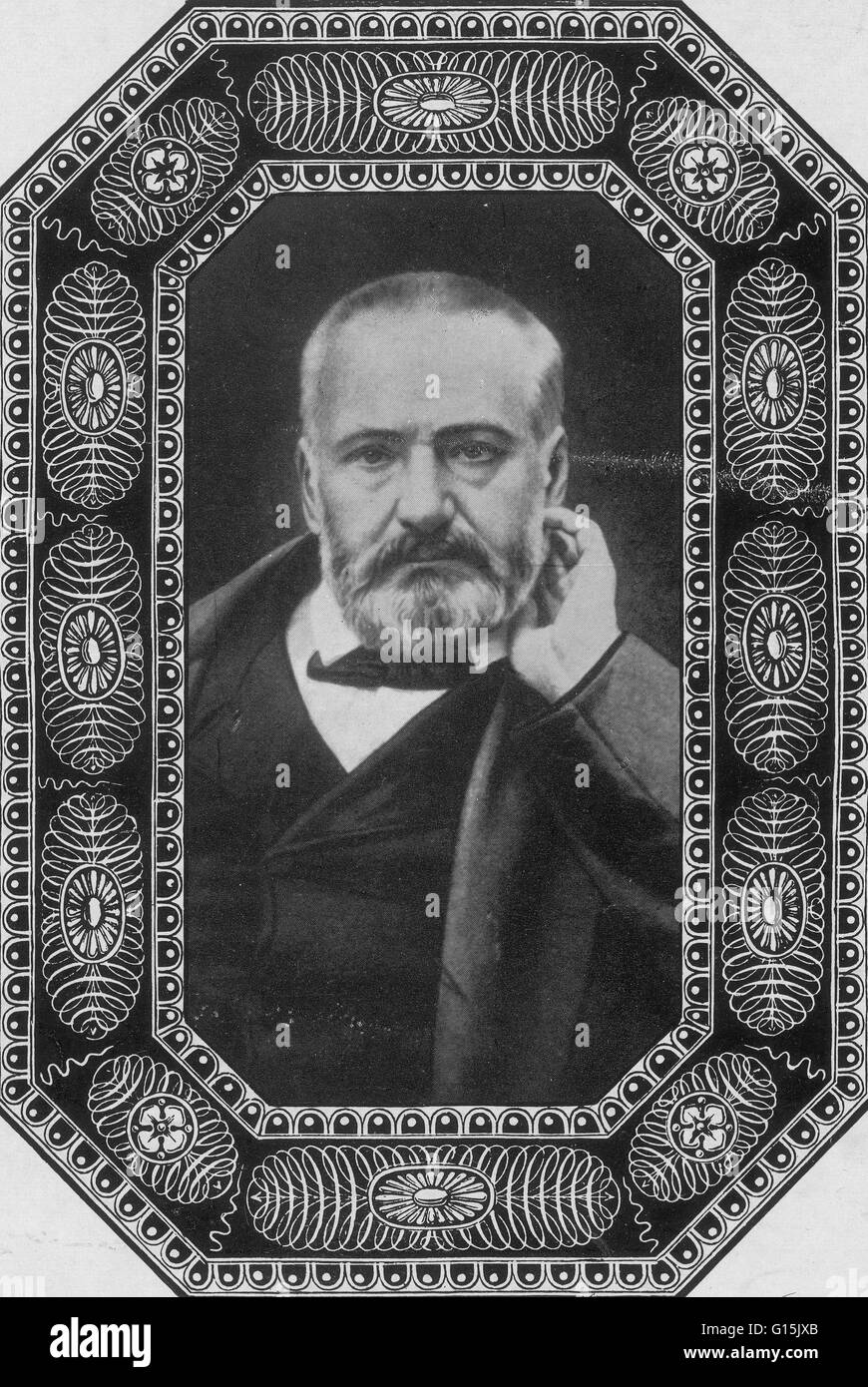 Victor Marie Hugo (February 26, 1802 - May 22, 1885) was a French poet, novelist, and dramatist of the Romantic - Stock Image