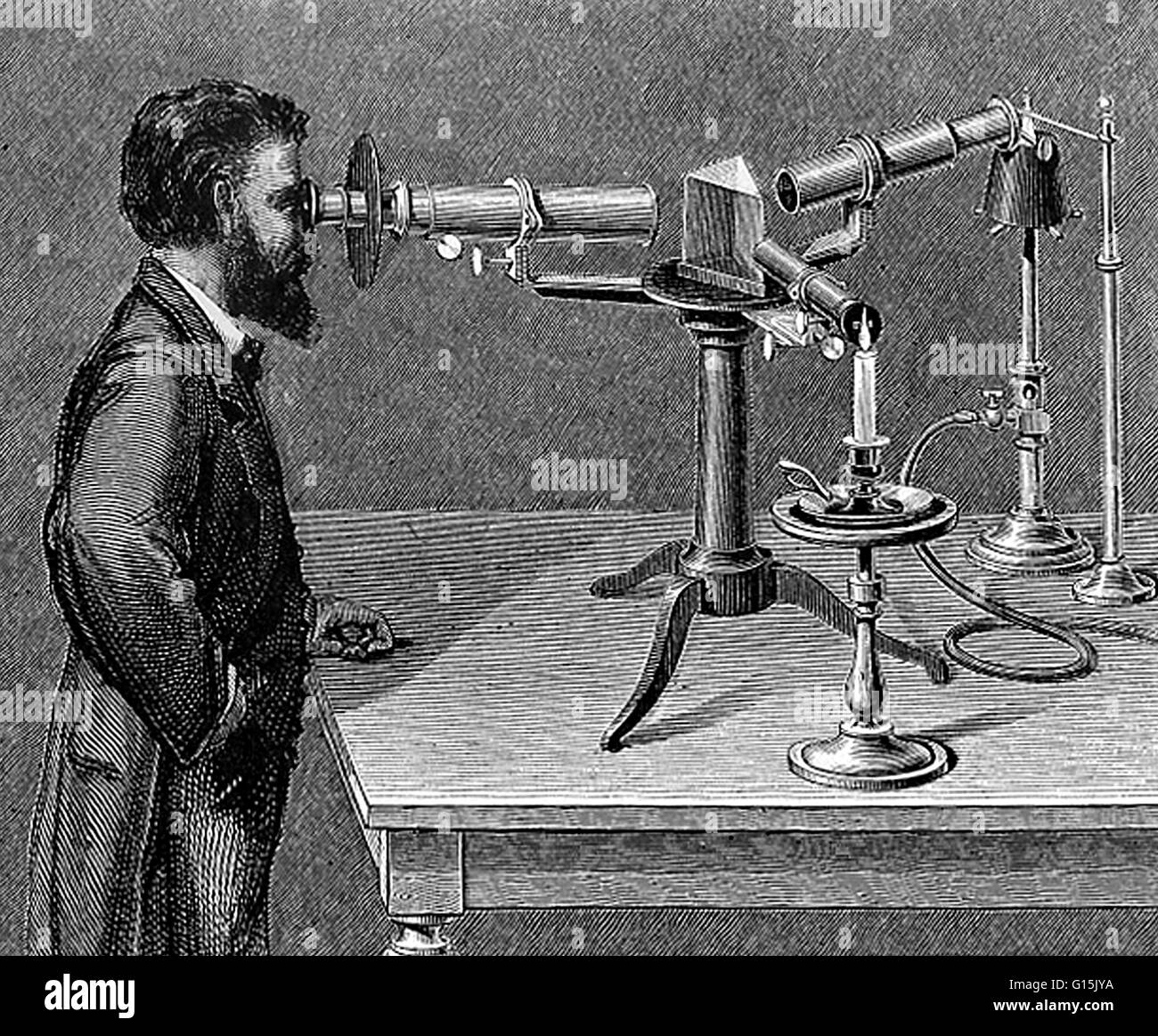 In 1830, Simms, an optician, made an improvement in the construction of the spectroscope by placing a lens in front - Stock Image