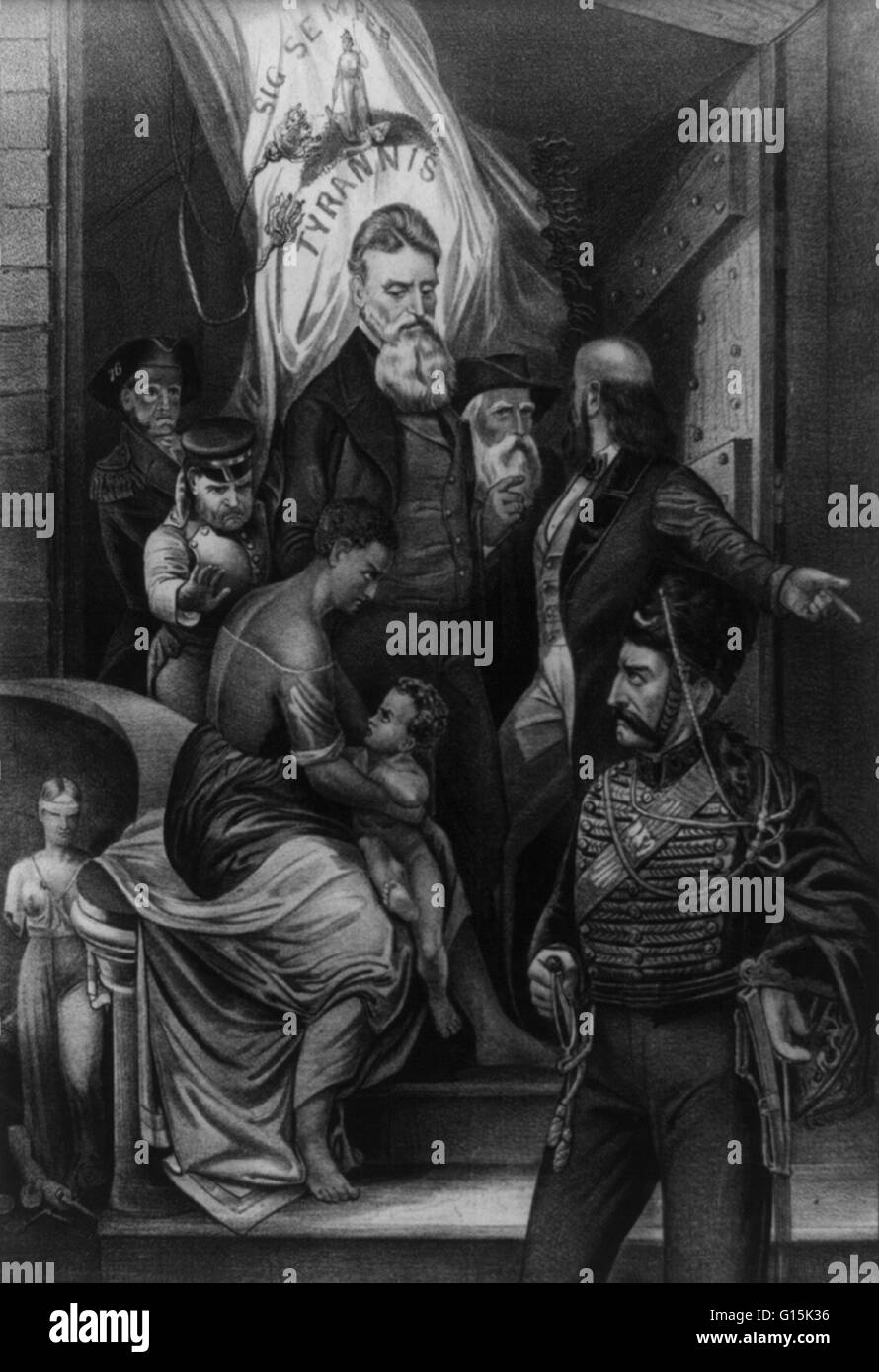 Lithograph entitled: 'John Brown meeting the slave-mother and her child on the steps of Charlestown jail on - Stock Image