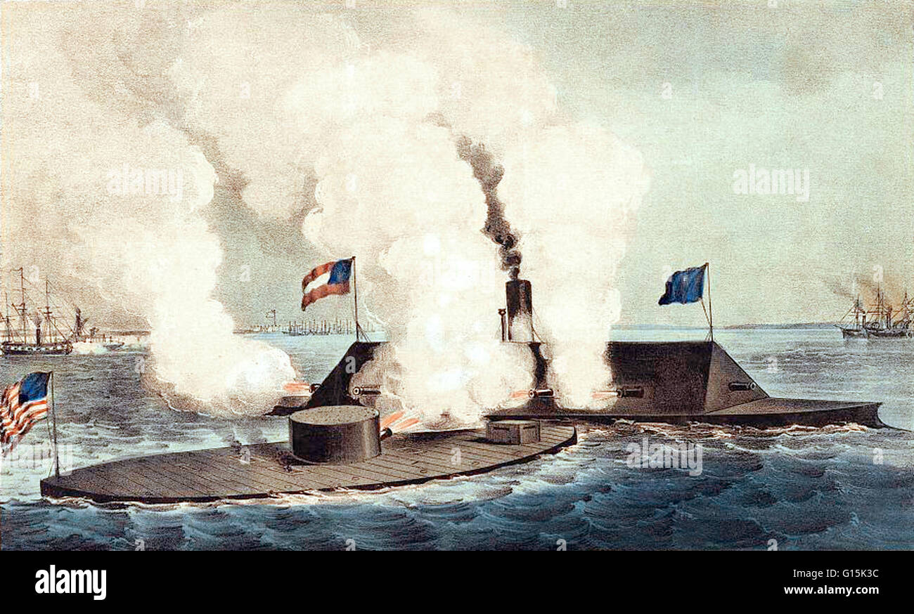 Lithograph entitled: 'Terrific combat between the Monitor 2 guns & Merrimac 10 guns.' The Monitor and - Stock Image
