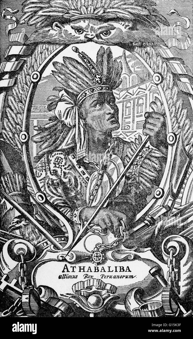 Atahualpa (1497-1533), the last sovereign emperor of the the Inca Empire  prior to the Spanish conquest of Peru. During this conquest, the Spaniard  Francisco ...