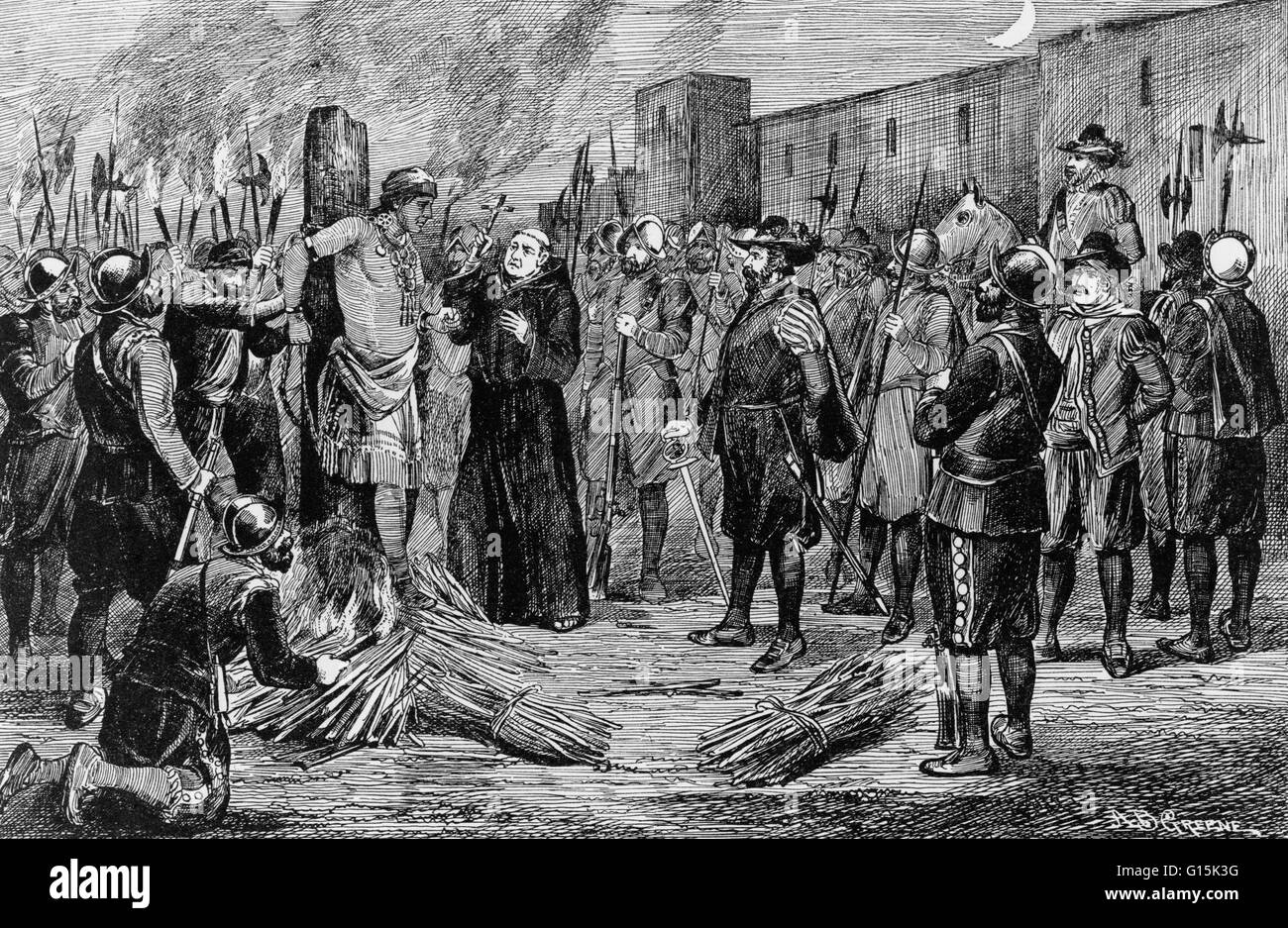 Engraving depicting the execution of Atahualpa, the last sovereign emperor of the the Inca Empire, by Spanish conquistadors. - Stock Image