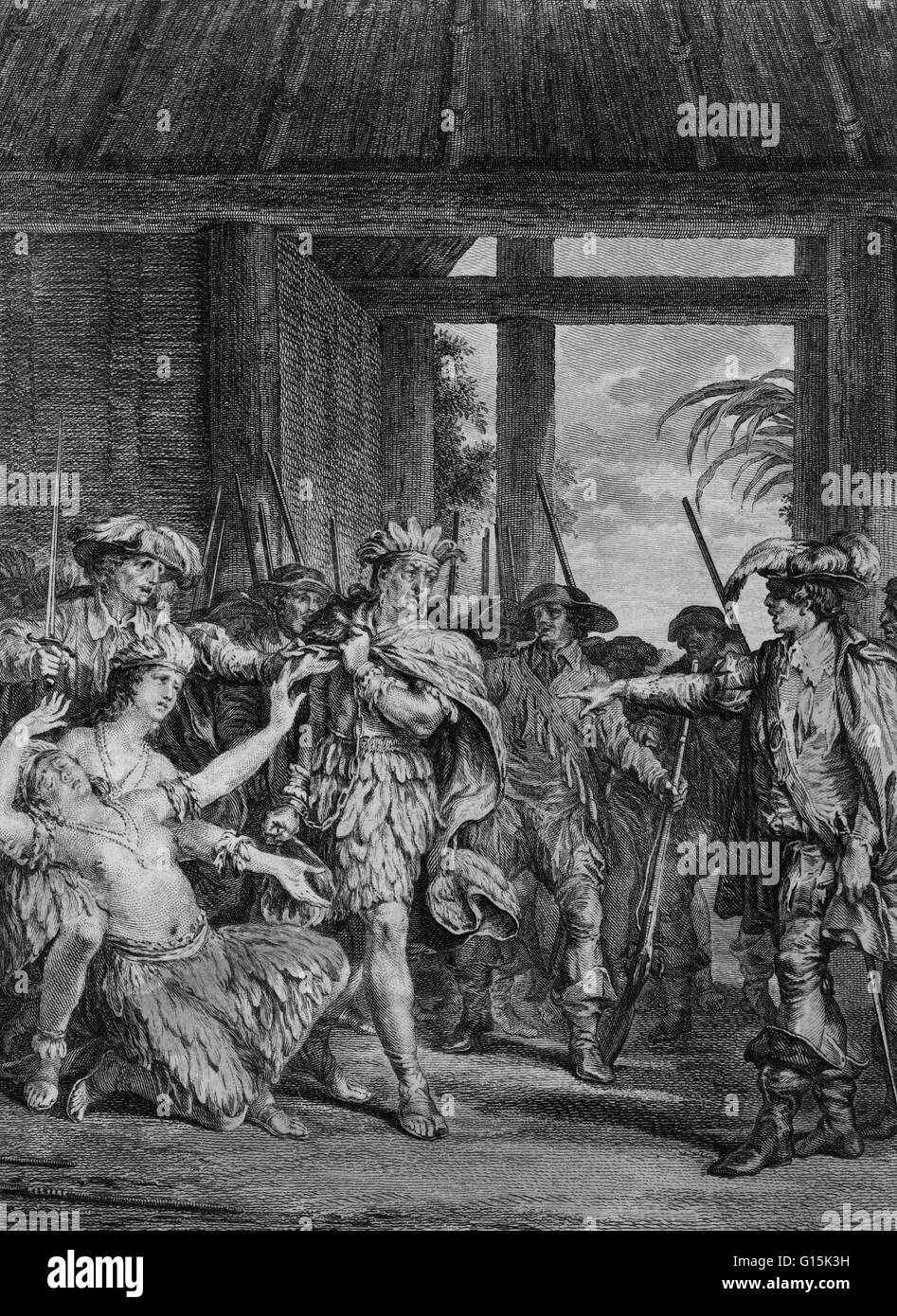 Engraving depicting seizure of Atahualpa, who was the last sovereign emperor of the the Inca Empire. The Spanish - Stock Image