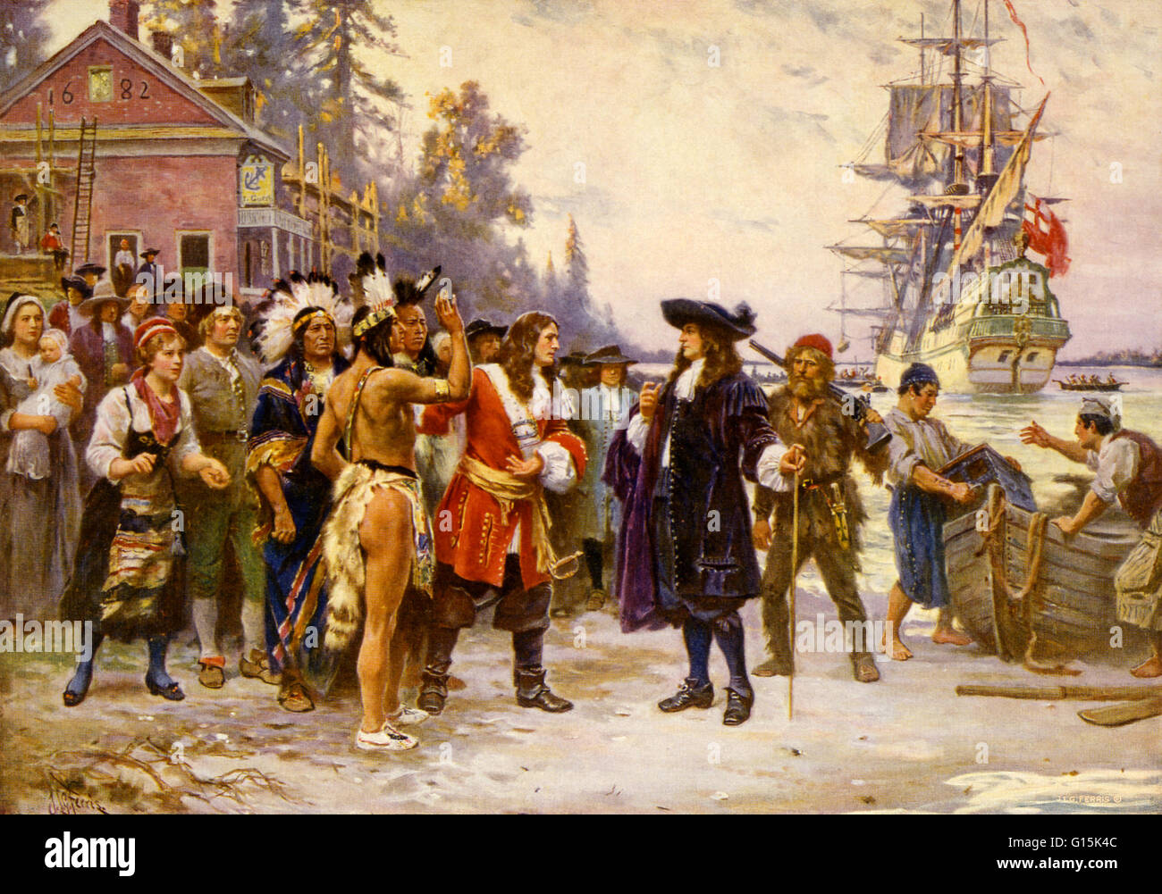 Print showing William Penn, in 1682, greeted by large group of men and women, including Native Americans. William - Stock Image