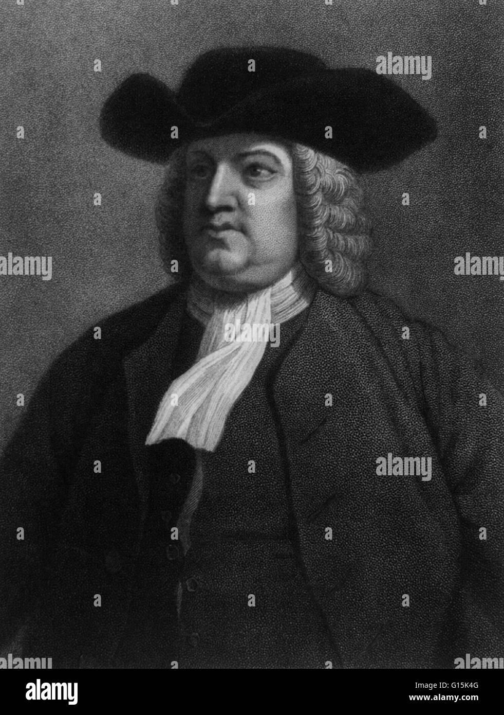 Portrait of William Penn (1644-1718), English real estate entrepreneur, philosopher, and founder of Pennsylvania. Stock Photo