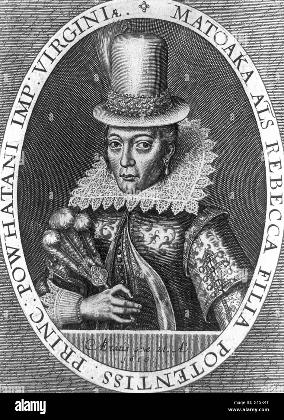 Portrait of Pocahontas (1595-1617), an Algonquian Indian remembered for her association with the colonial settlement - Stock Image