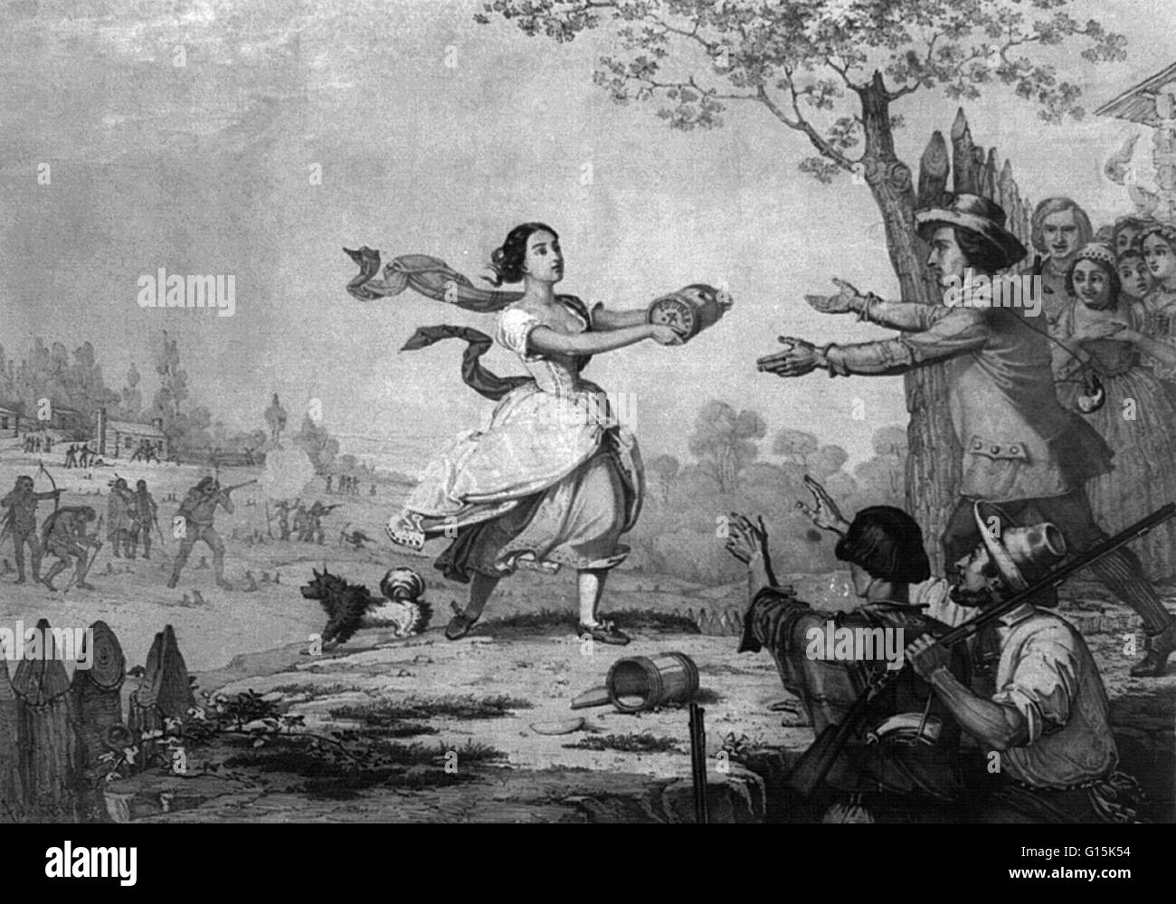 Elizabeth 'Betty' Zane McLaughlin Clark (1759-1823) was a heroine of the Revolutionary War. Under attack - Stock Image