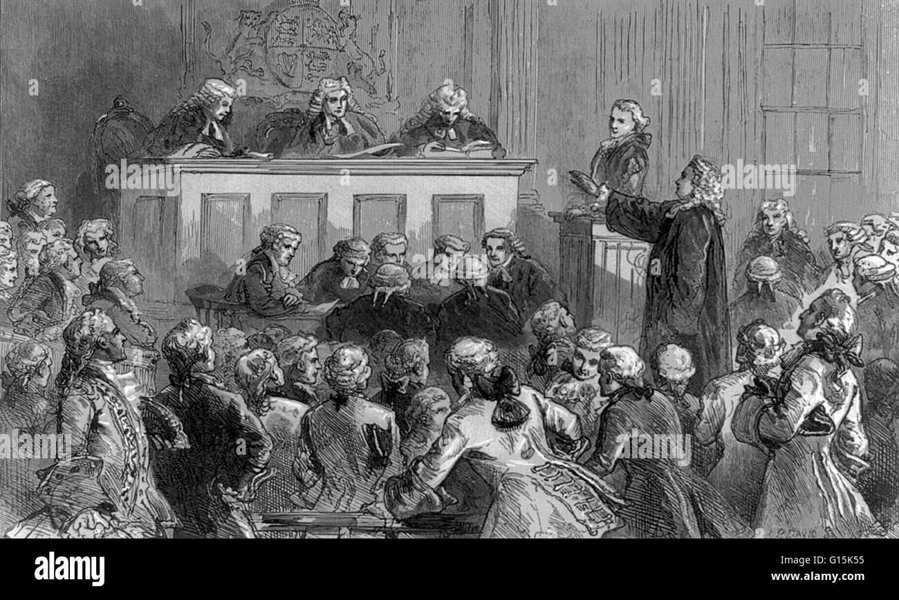 Illustration showing Andrew Hamilton defending John Peter Zenger in court. Zenger (1697-1746) was a defendant in - Stock Image