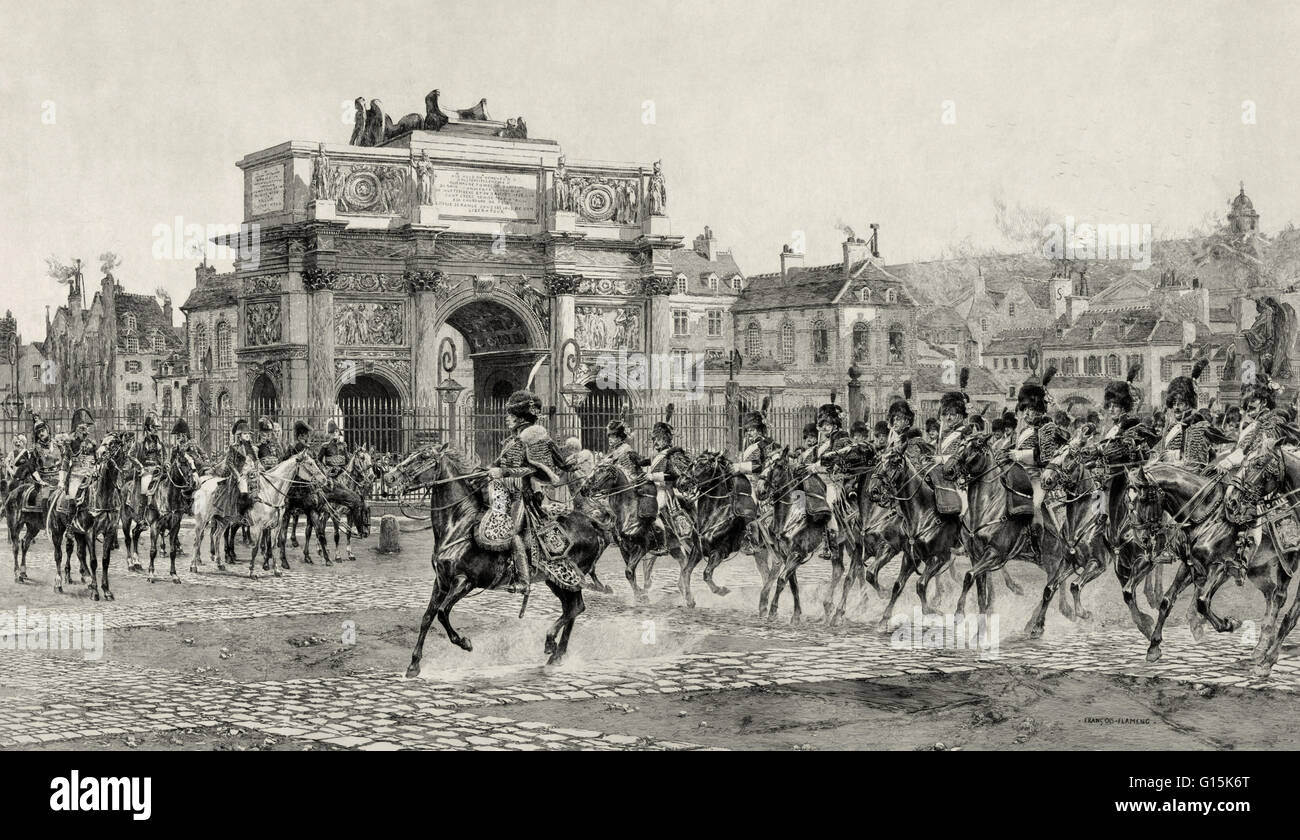 Etching showing Napoleon I, on horseback, reviewing cavalry troops passing behind the Arc de Triomphe du Carrousel - Stock Image