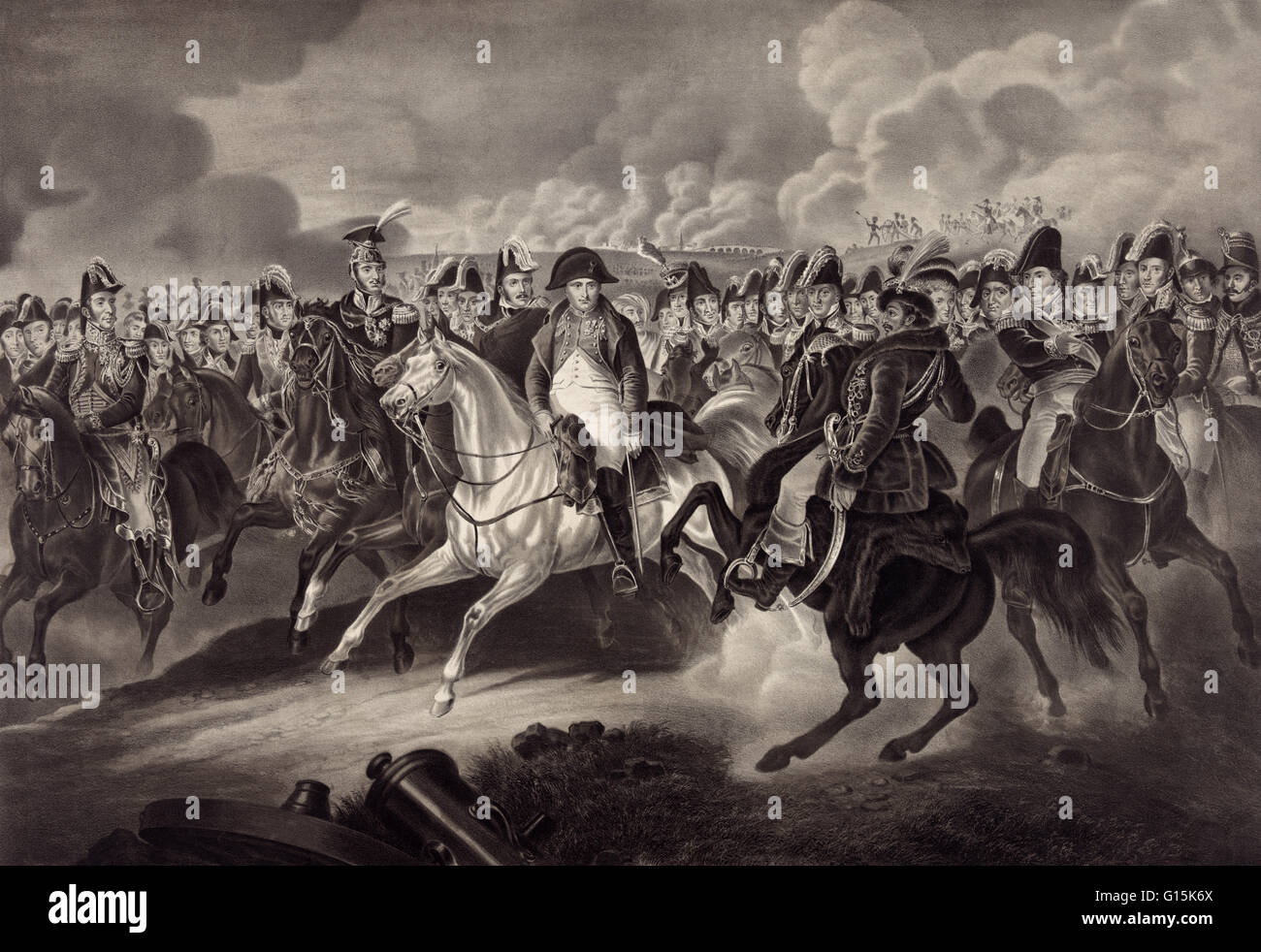 19th century illustration depicting Napoleon surrounded by the most celebrated generals of his time. Napoleon Bonaparte Stock Photo