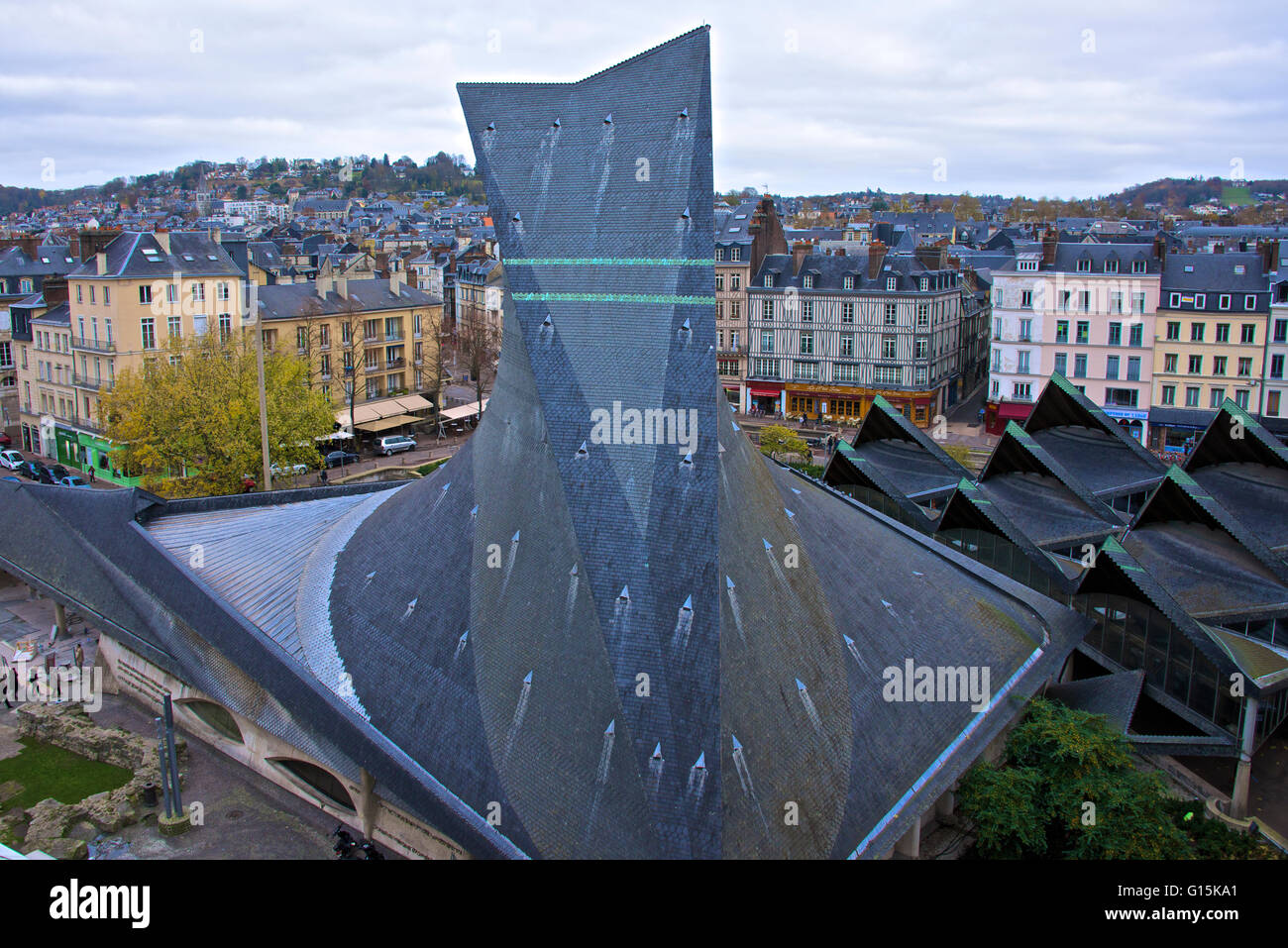 Joan of Arc church roof, and Ancient market place, Rouen, Normandy, France, Europe - Stock Image