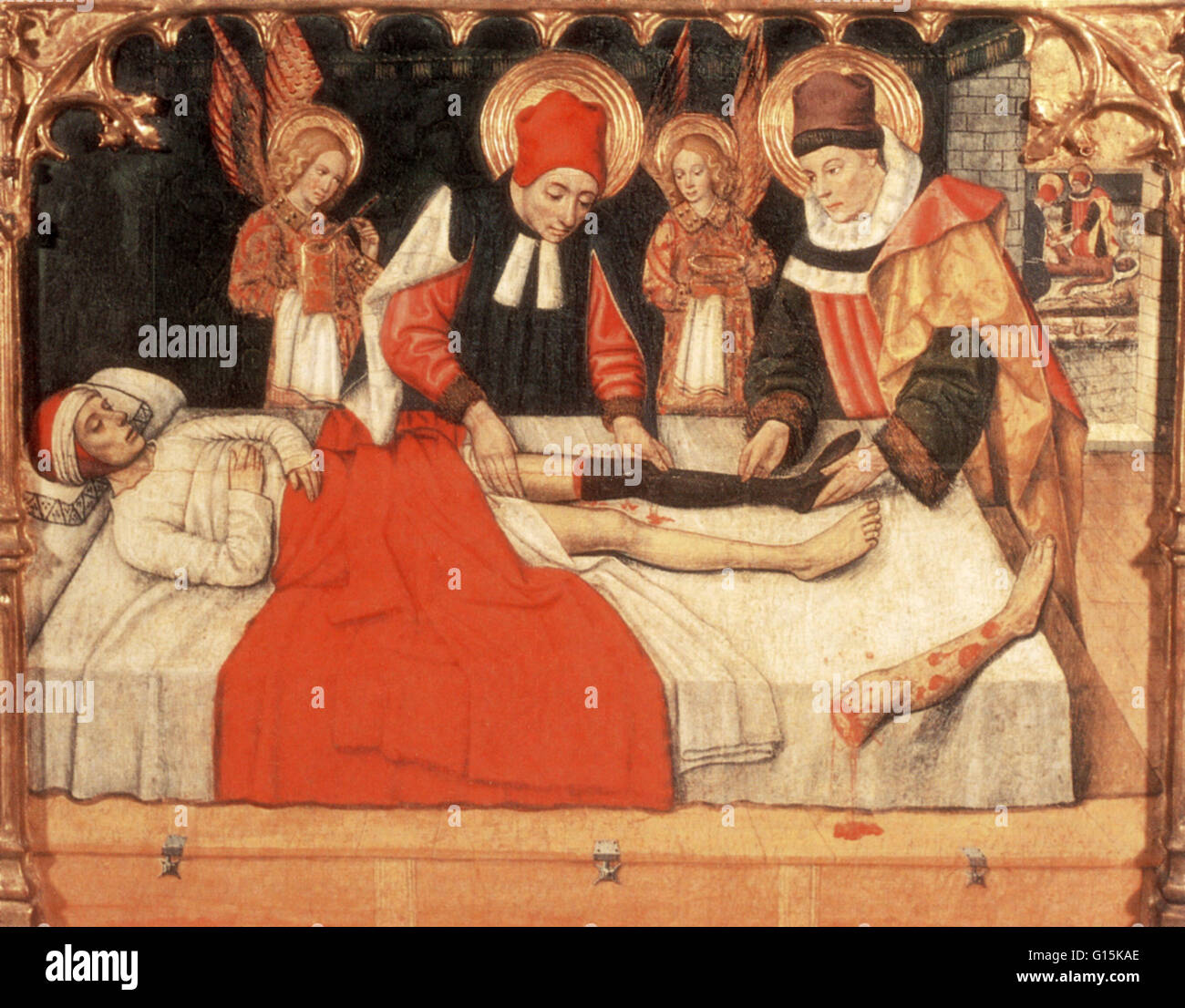 St. Cosmas and St. Damian, patron saints of medicine, grafting the leg of an Ethiopian gladiator onto a Christian - Stock Image