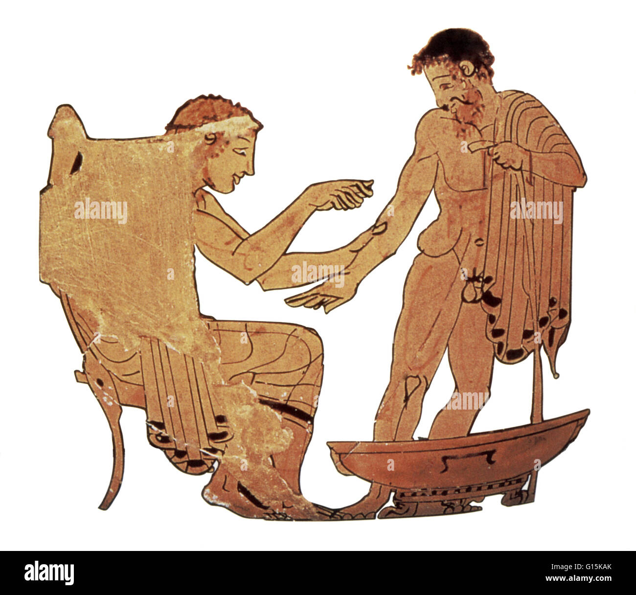 An Ancient Greek physician, with a scalpel, letting blood from a patient. Bloodletting was often used as a cure - Stock Image