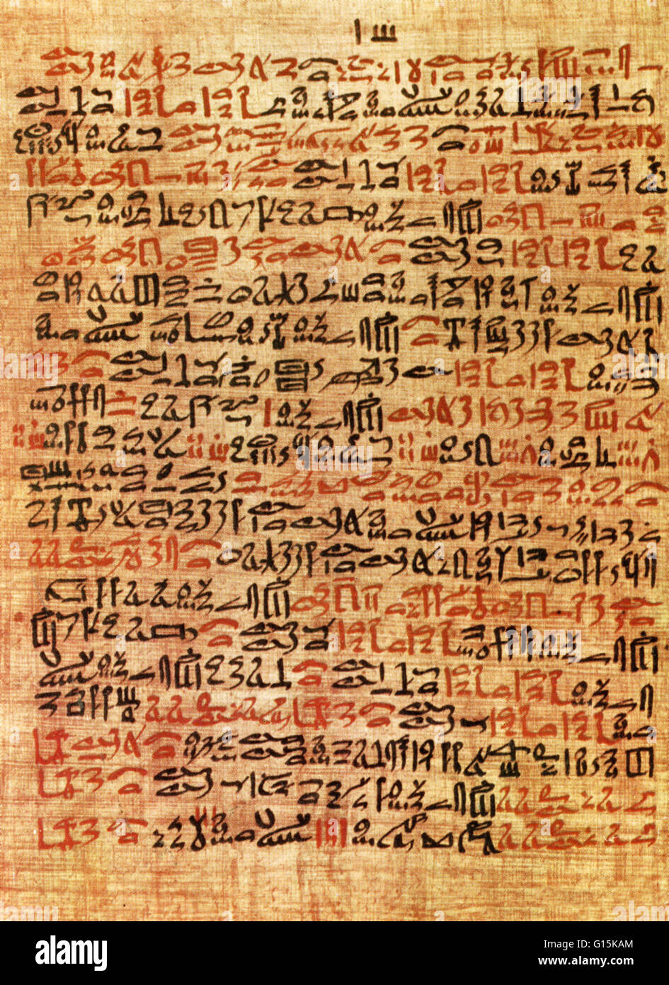 Column 61 of the Ebers Medical Papyrus, New Kingdom, Eighteenth Dynasty, c. 1550 BC. The Ebers Papyrus is 65 feet - Stock Image