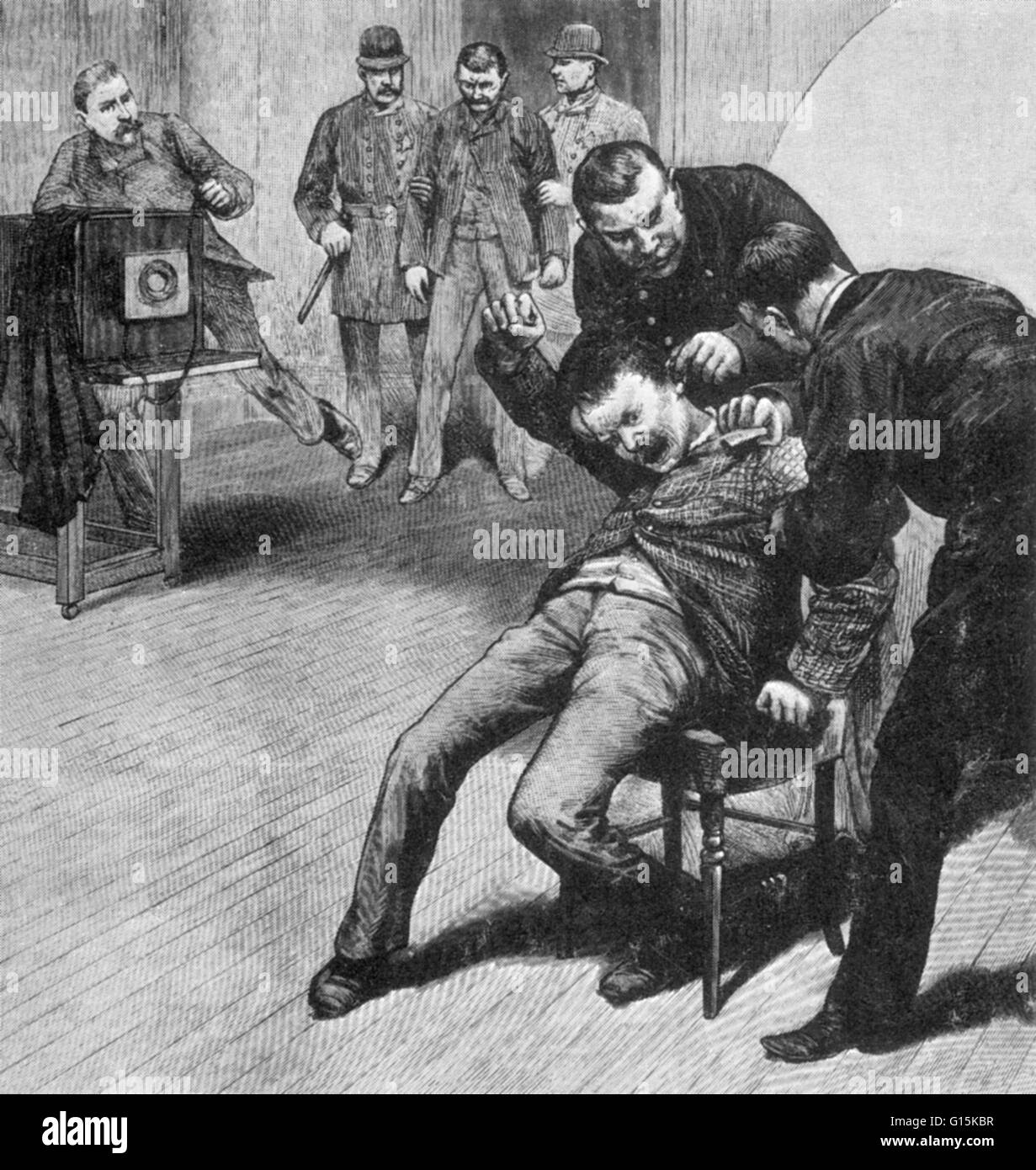 An illustration of a criminal being held down for a mug shot at police headquarters during the anarchist trials - Stock Image