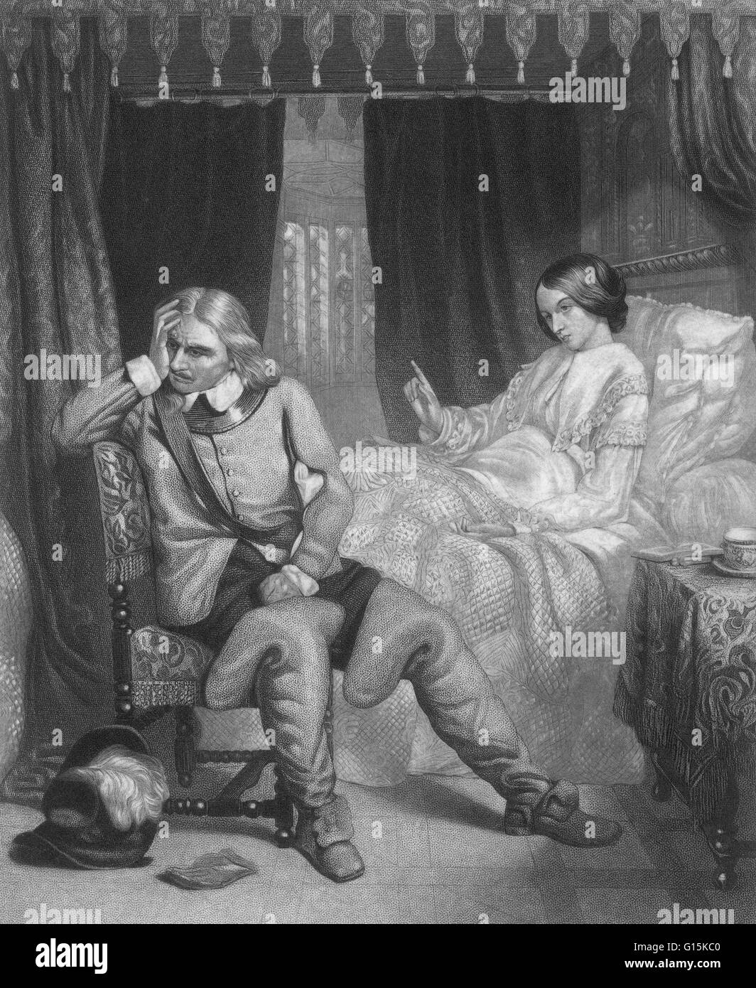 'Oliver Cromwell's last interview with his daughter,' an engraving from 1857 that imagines the death - Stock Image