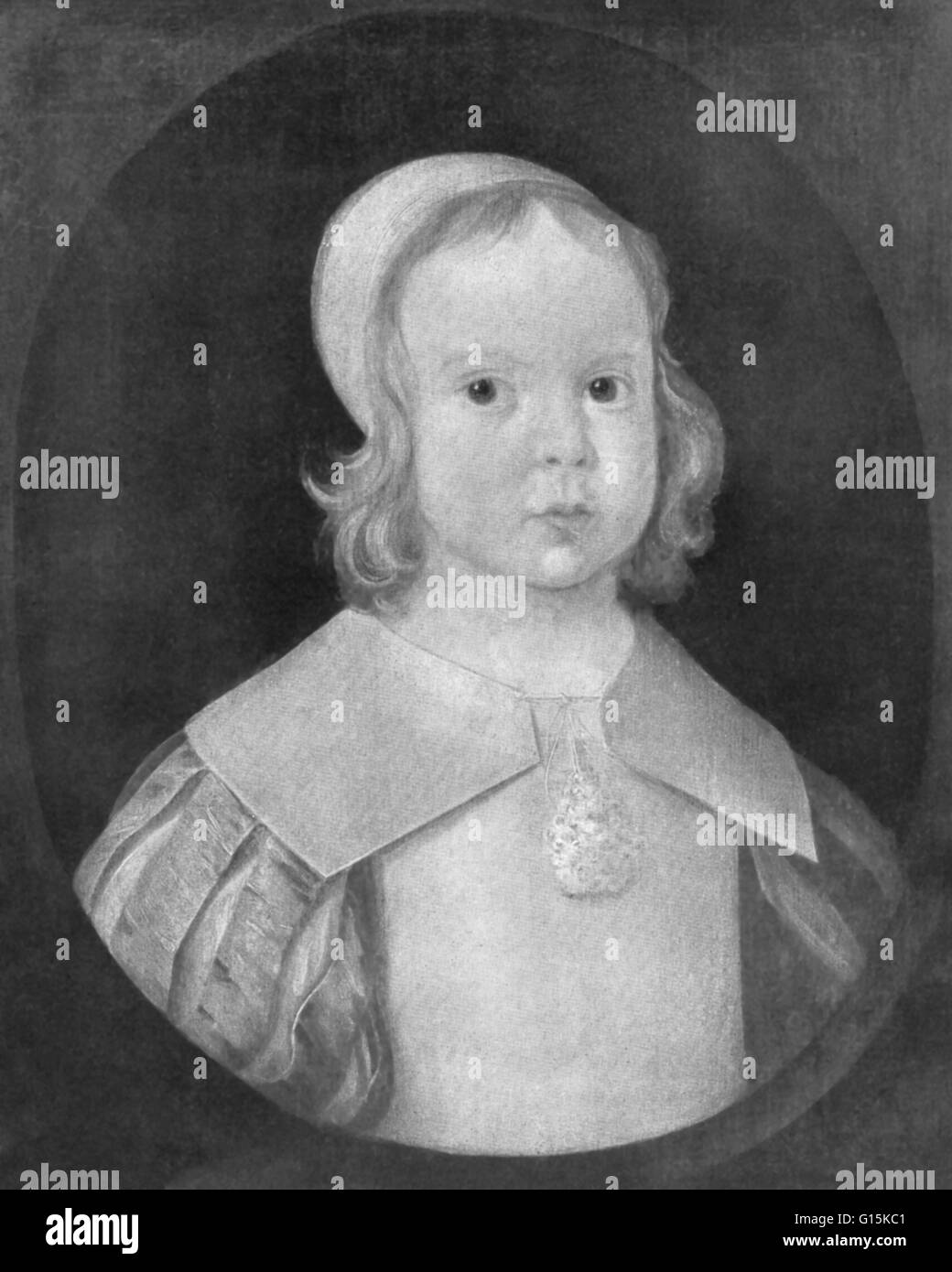 Oliver Cromwell as a two-year-old child. Cromwell (1599-1658) was an English political leader and military commander - Stock Image