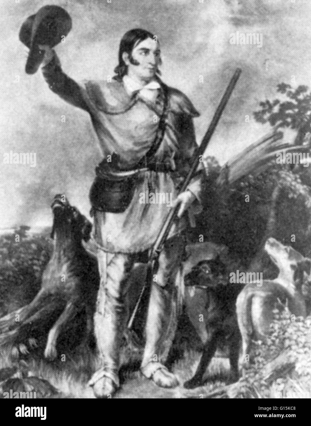 Davy Crockett (1786 -1836), American folk hero, soldier and politician, known colloquially as 'King of the Wild - Stock Image