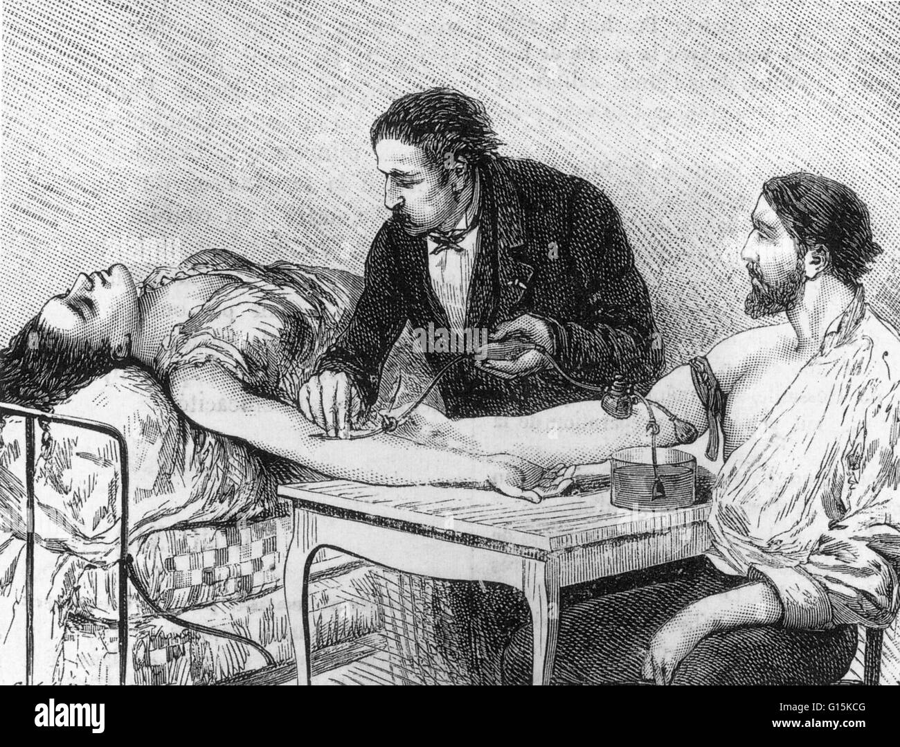 Entitled: 'Direct transfusion of live blood performed on the 7th February 1882 by Dr. Roussel.' A direct, - Stock Image