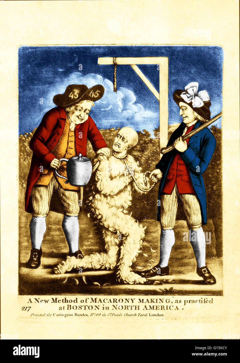 'A new method of macarony making, as practiced at Boston in North America.'  This illustration depicts two - Stock Image
