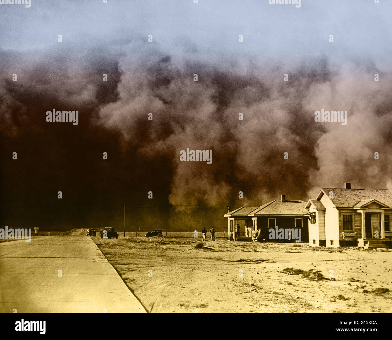 Huge dust storm hits Springfield, Colorado during the Dust Bowl, an agricultural, ecological, and economic disaster Stock Photo