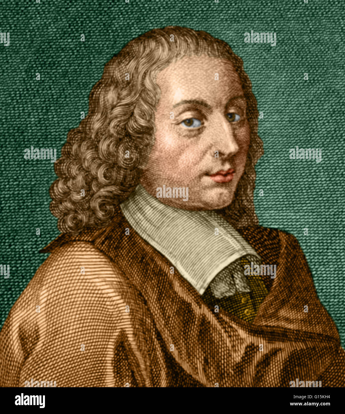 Color enhanced portrait of Blaise Pascal (1623-1662), a French  mathematician, physicist, inventor, writer, Catholic philosopher and child  prodigy.