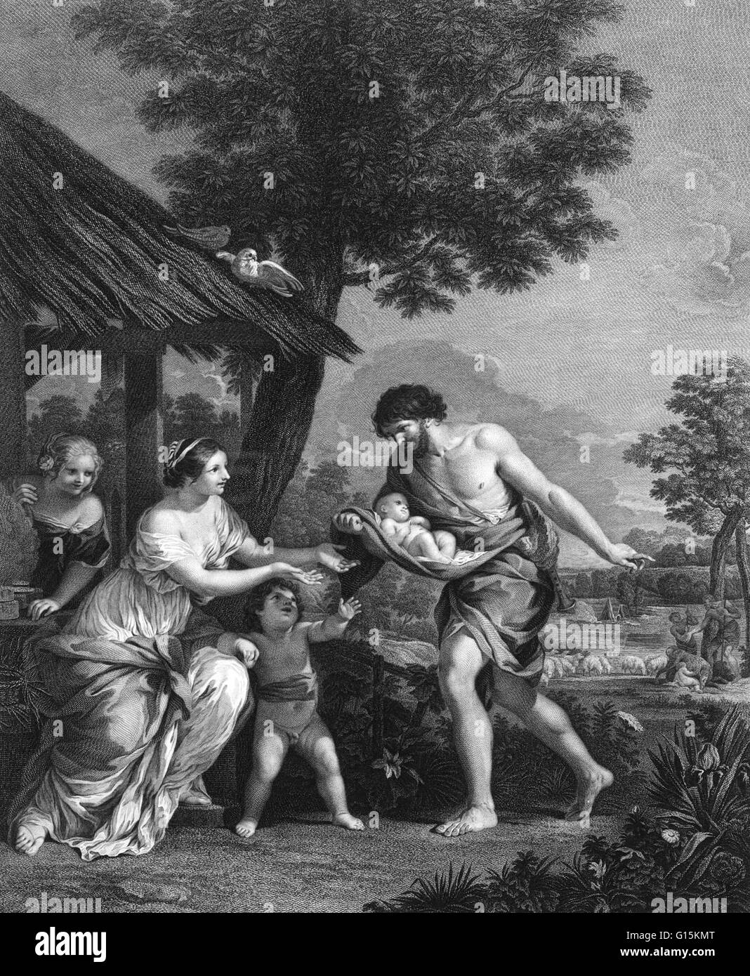 According to the Roman mythology, the founders of Rome were Romulus and Remus. The story begins with the deposition - Stock Image
