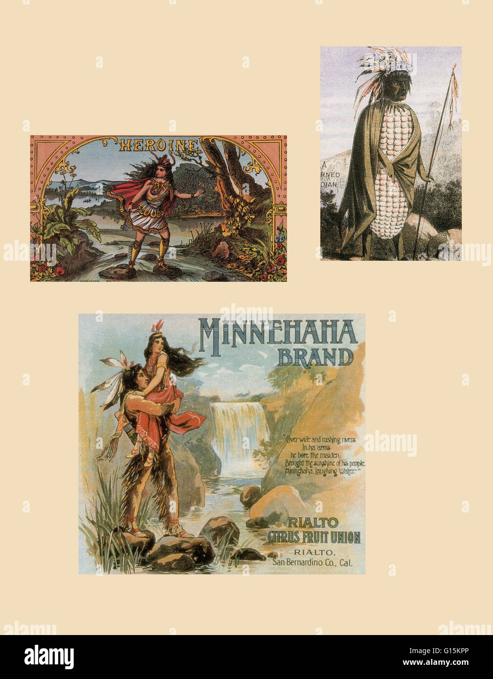 Assorted advertisements featuring Native American stereotypes. Clockwise: Heroine cigar box label, c. 1875; Native - Stock Image