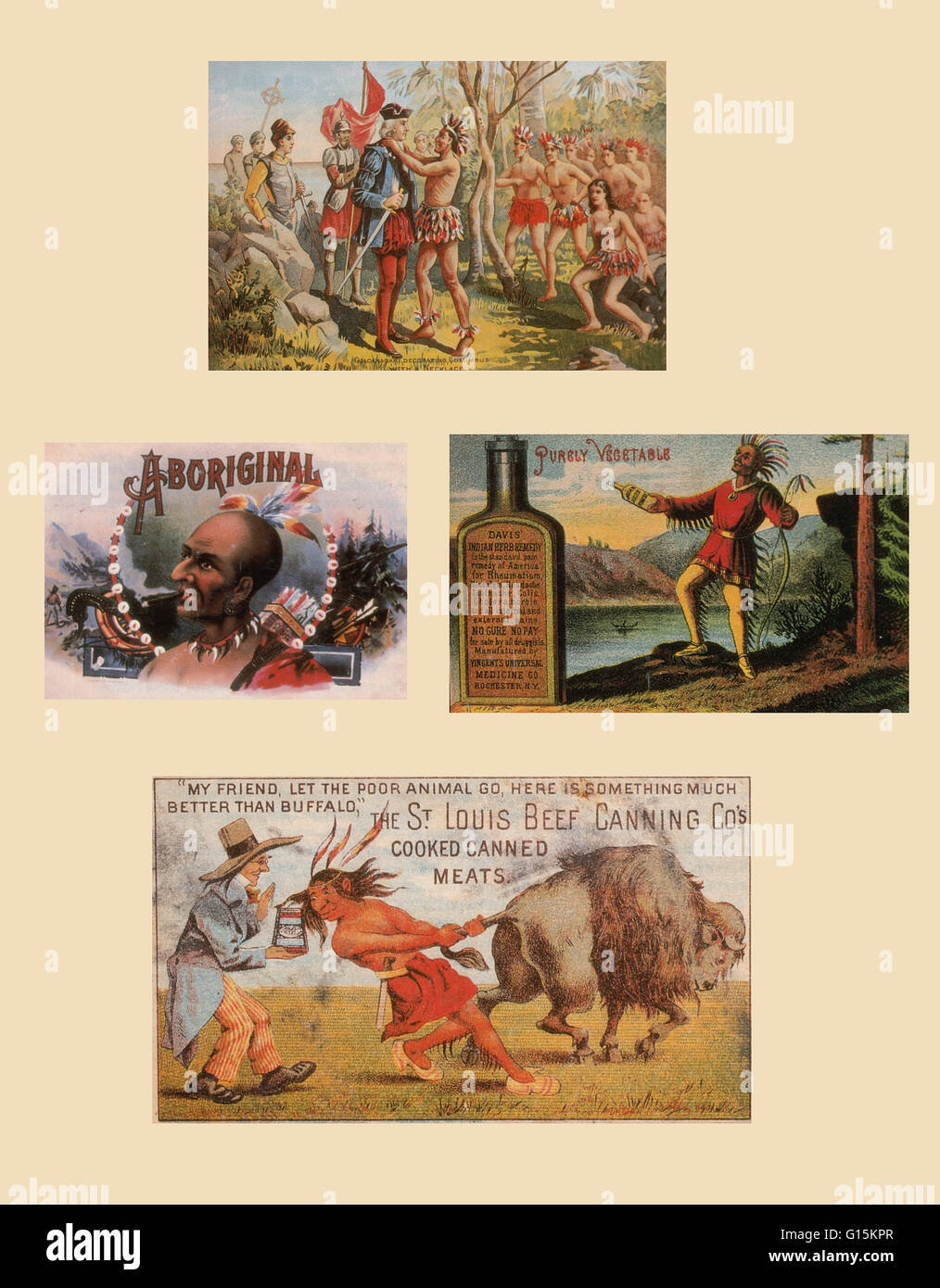 Assorted advertisements featuring Native American stereotypes. Clockwise: Indians with Columbus, stock advertising - Stock Image