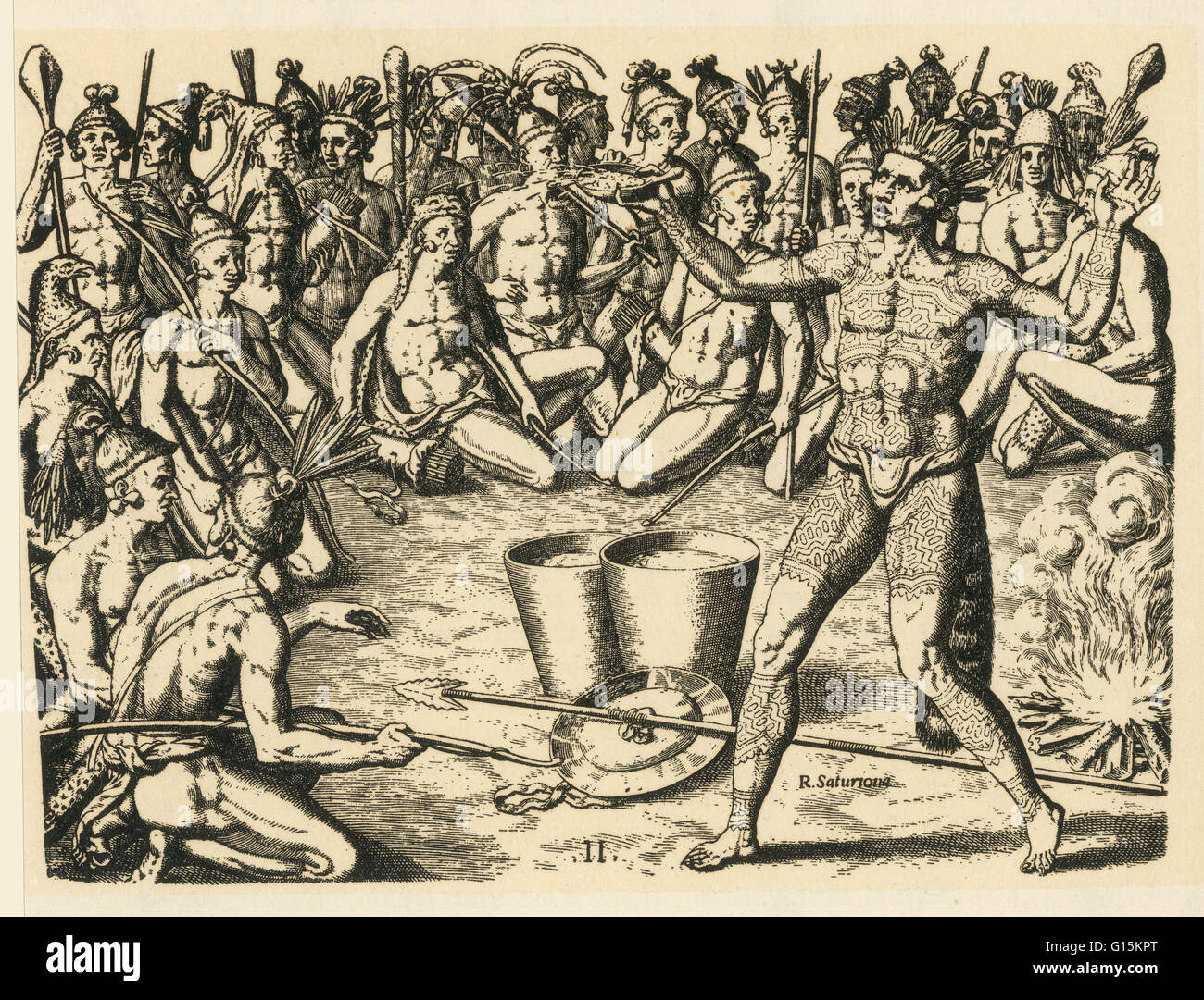 Late 16th-century engraving by Theodor de Bry, after a watercolor by Jacques le Moyne, titled 'War Dance.' - Stock Image
