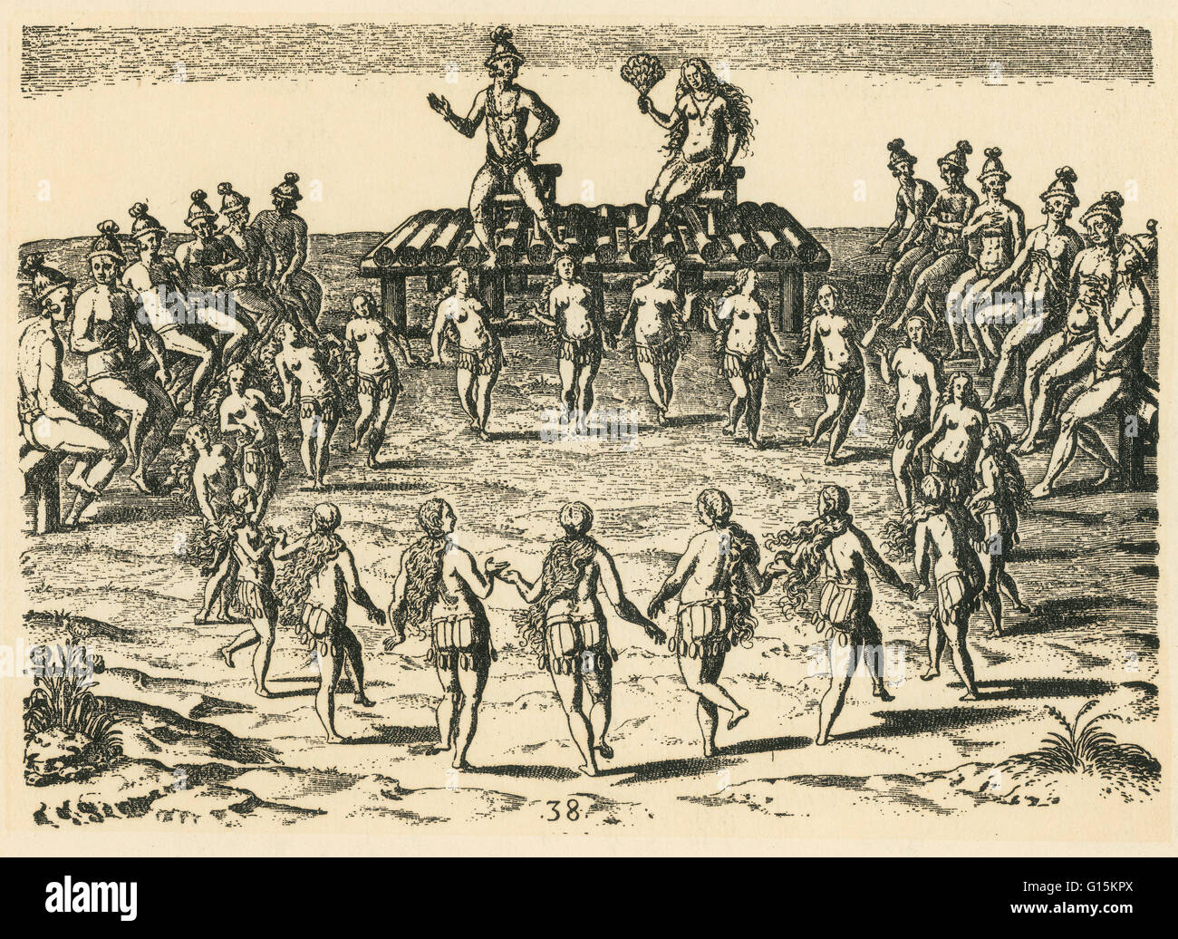 Late 16th-century engraving by Theodor de Bry, after a watercolor by Jacques le Moyne, titled 'The King Receives - Stock Image