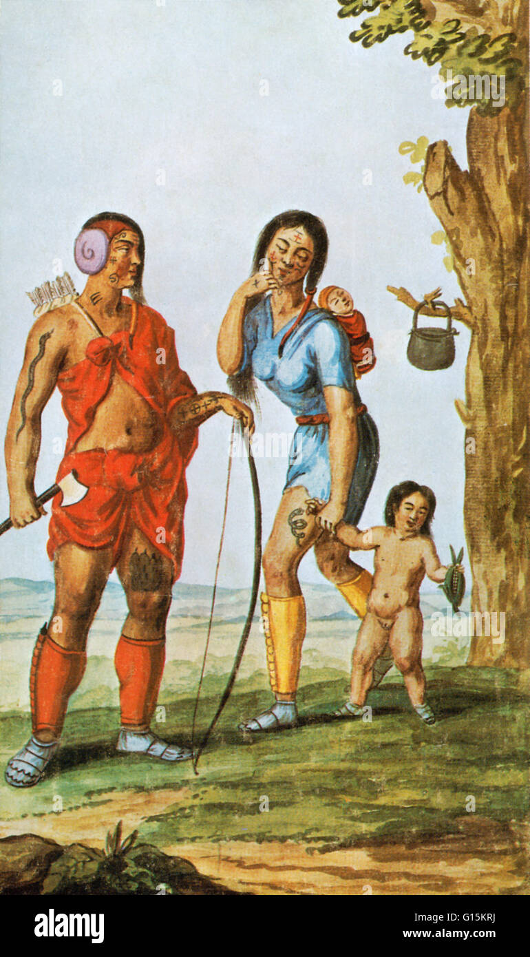 This 16th century painting, by an unknown artist, may be the only portrayal of Native Americans of the region that - Stock Image