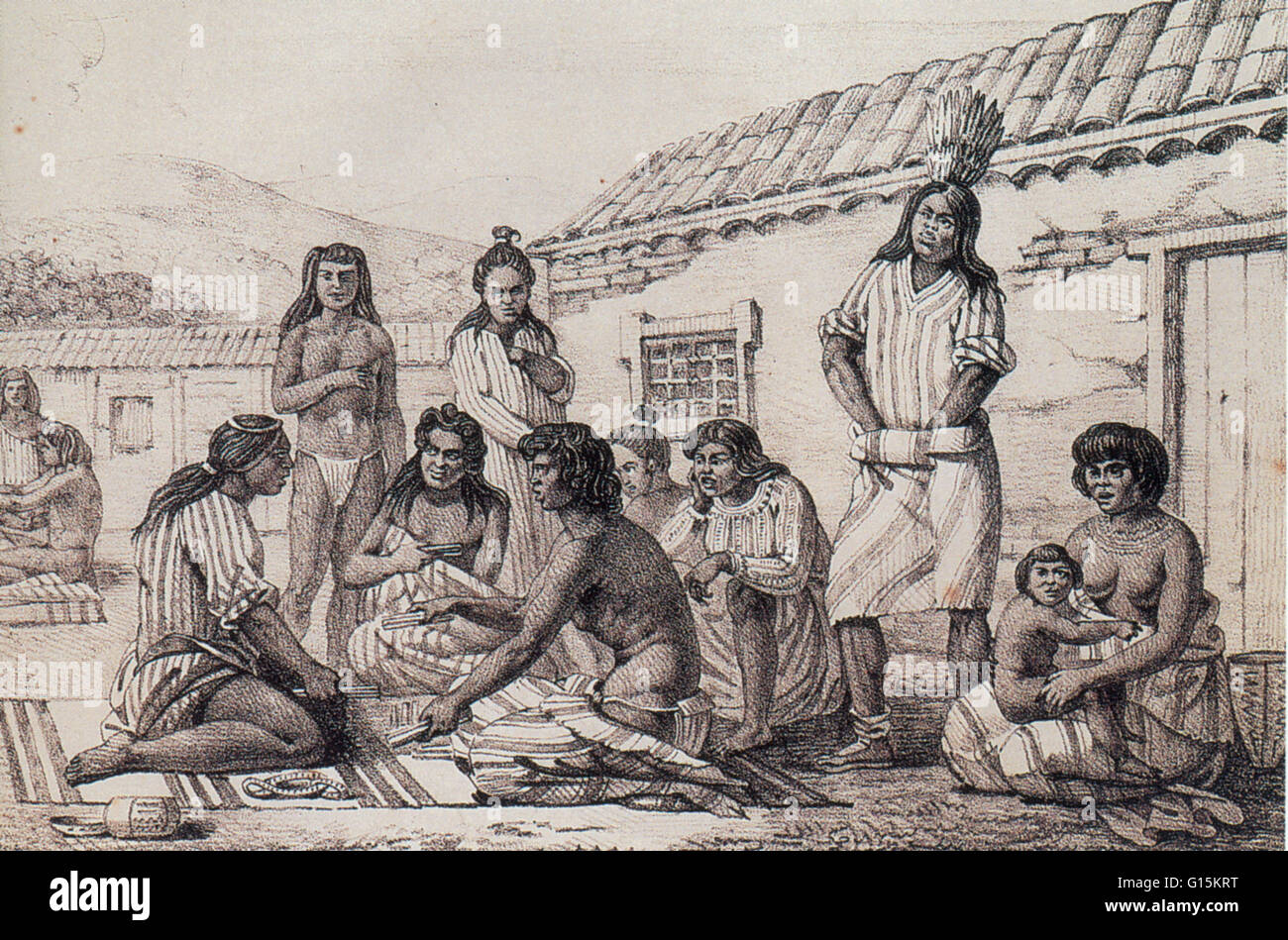 Illustration by the Russian artist Louis Choris depicting a group of California 'Mission Indians,' Native - Stock Image