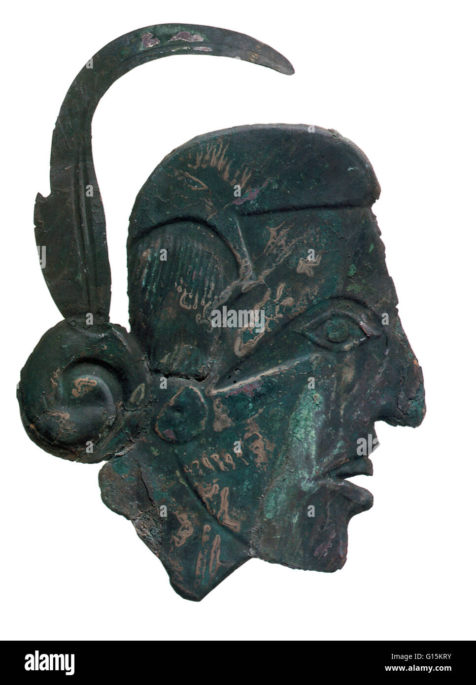 Mississipian copper ornament depicting a warrior in relief, found at Craig Mound, at the Spiro Mounds archaeological - Stock Image