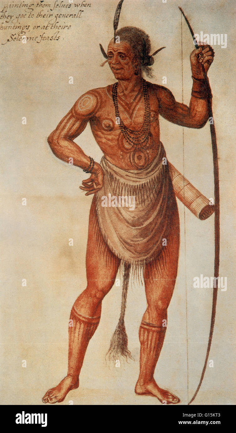 Watercolor by John White of a Native American man, entitled 'The manner of their attire and painting them selves,' - Stock Image